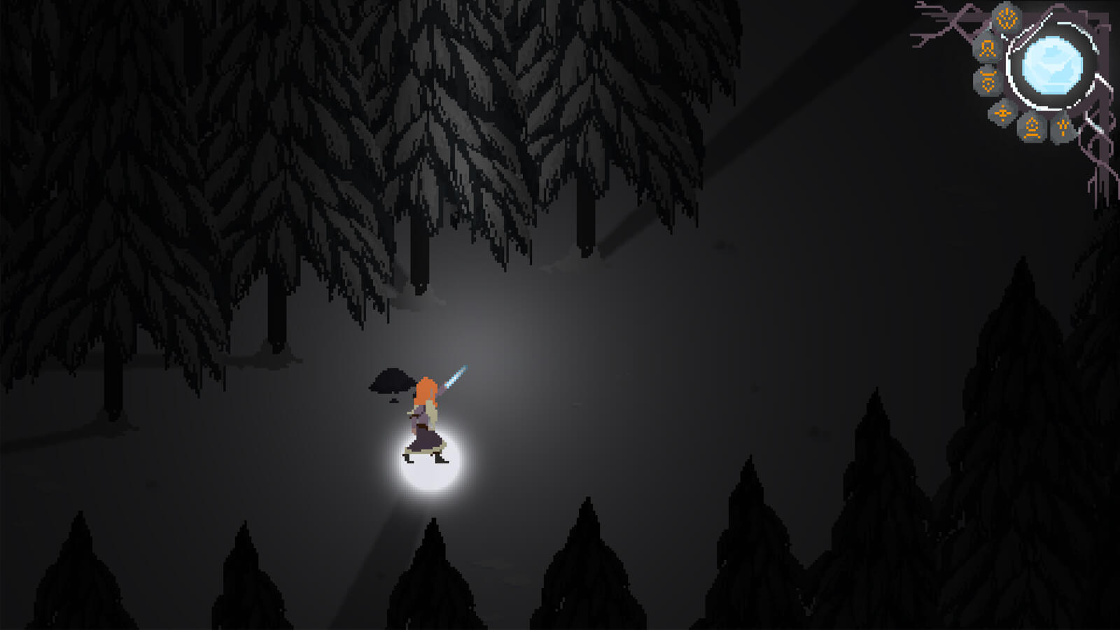 The game's heroine wielding a glowing blade in a dark, snowy forest.