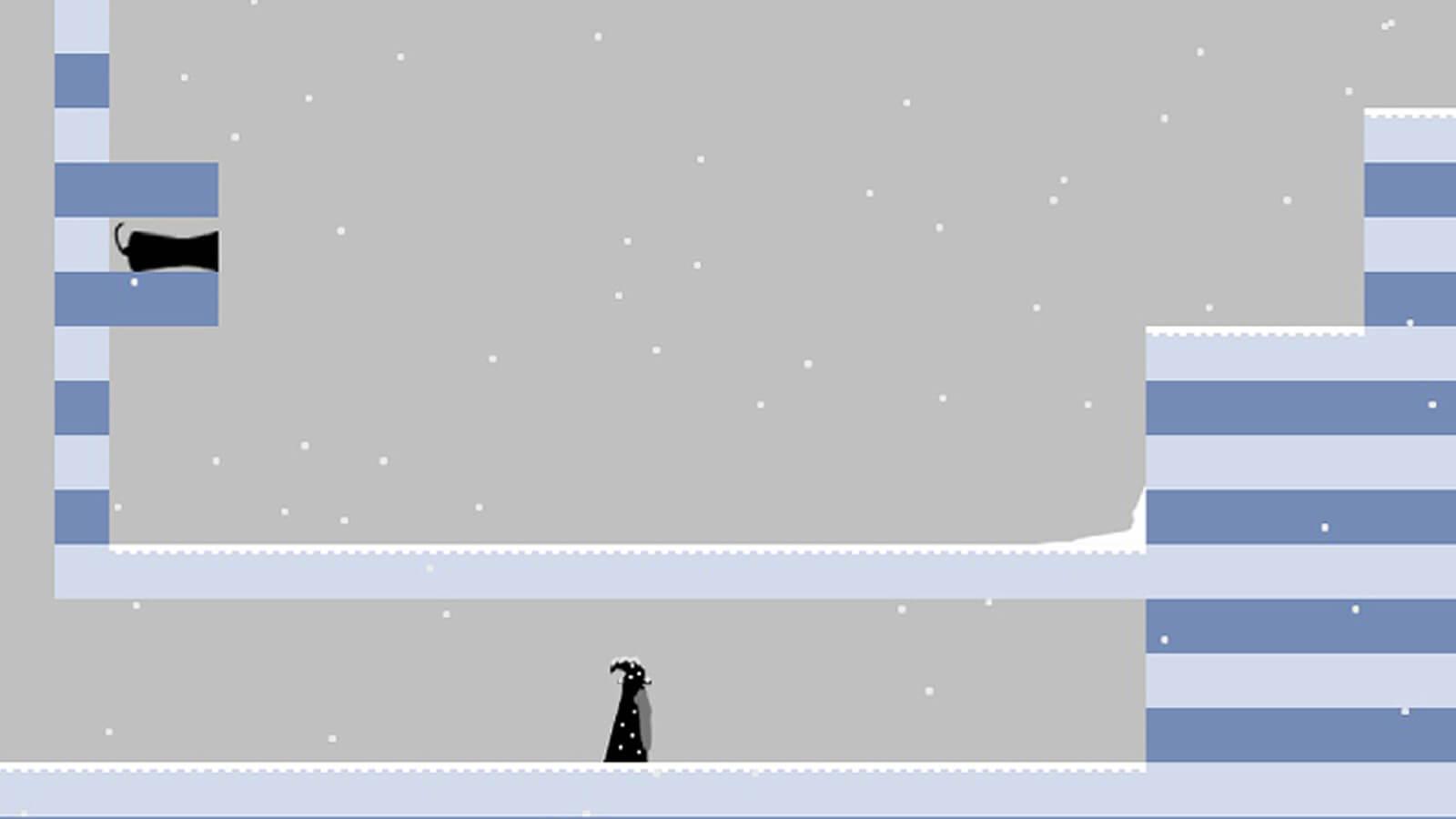 A black and white man runs along a grey platform in the rain.