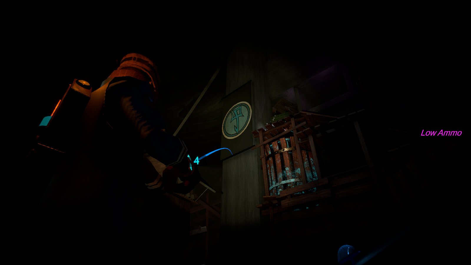 A man in a blue coat crouches through a very dark shaft, a glowing red eye in the distance.