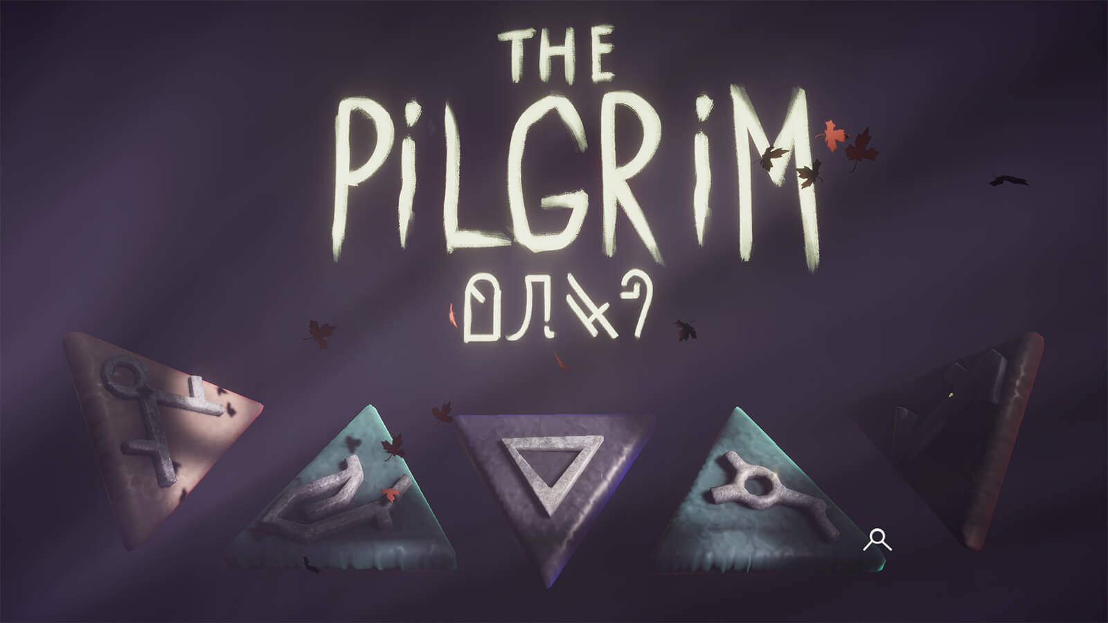 The menu screen for The Pilgrim, featuring many of the game's runic puzzle symbols embossed on colored triangles.