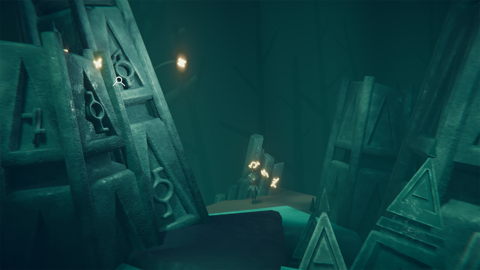The Pilgrim stands in the background near three glowing floating runes, with giant stone rune slabs in the foreground.