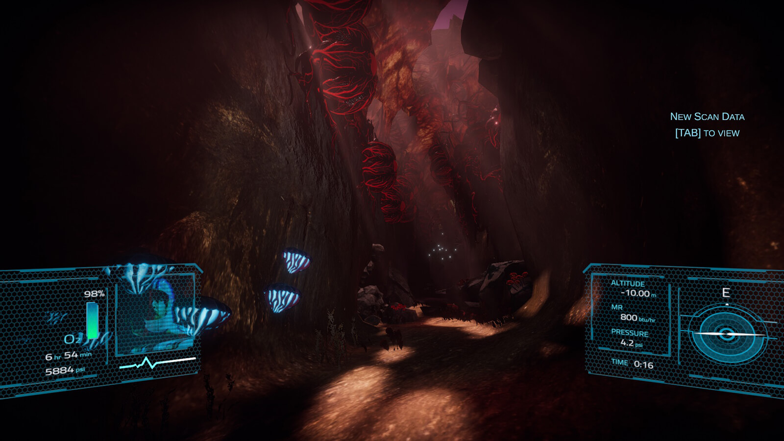An alien cavern with glowing blue mushrooms, red growths, and the player's HUD layered on top.