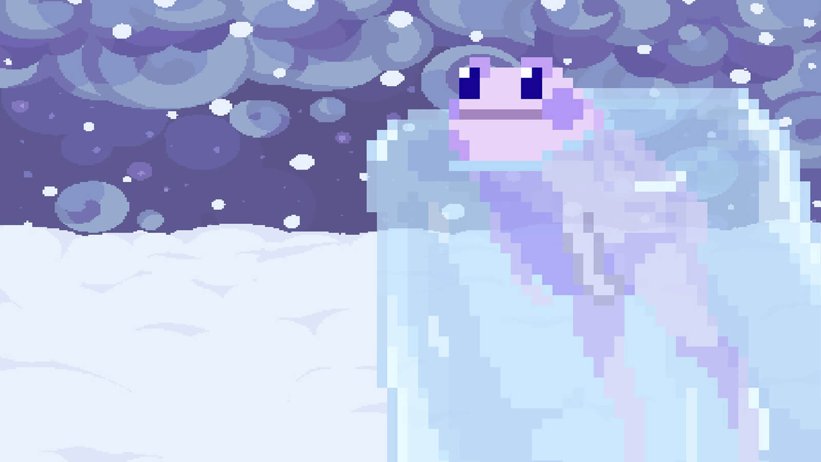A purple frog partially frozen in ice on a snowy planet.