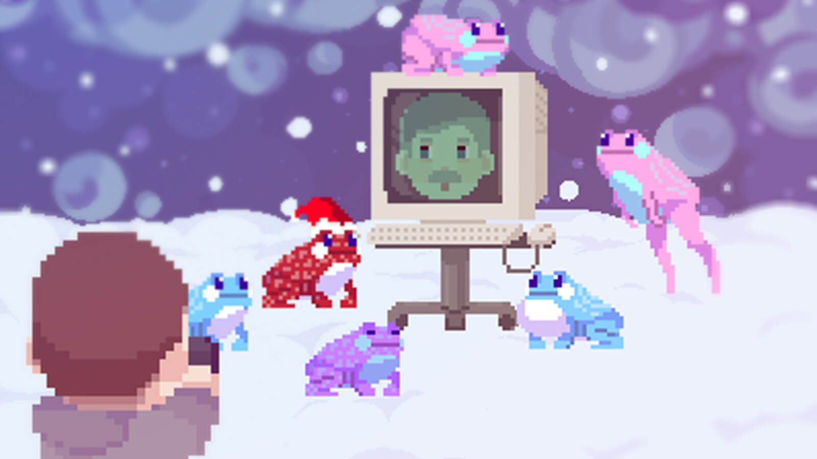 A man shoots a picture of frogs gathered around a computer with a mustached man's face on it in the snow.