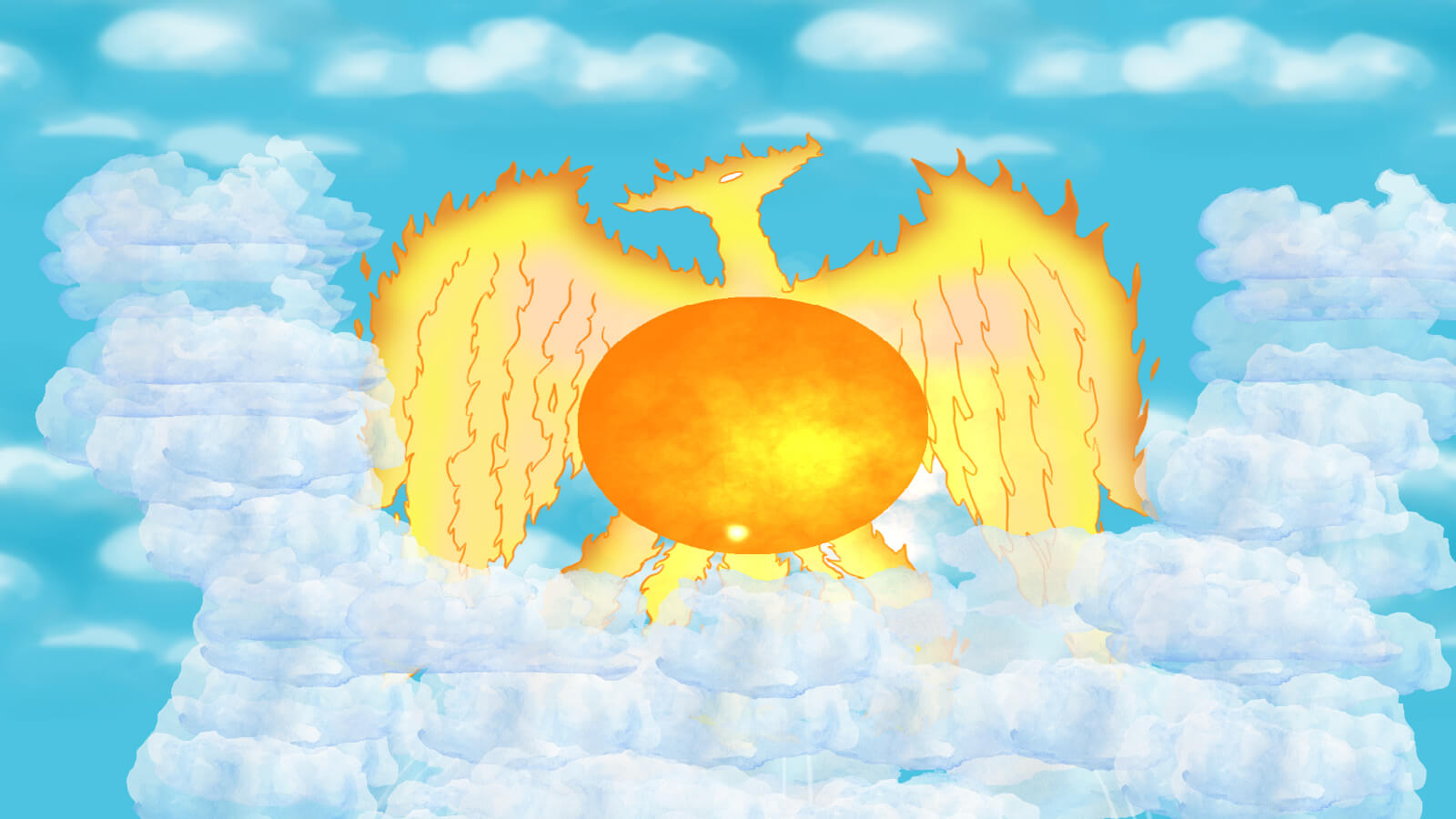 A phoenix in the clouds with a large sun-like orb in front of it.