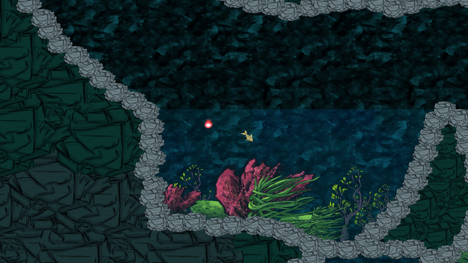 A fish swims toward the lush plant-populated bottom of a watery cave.