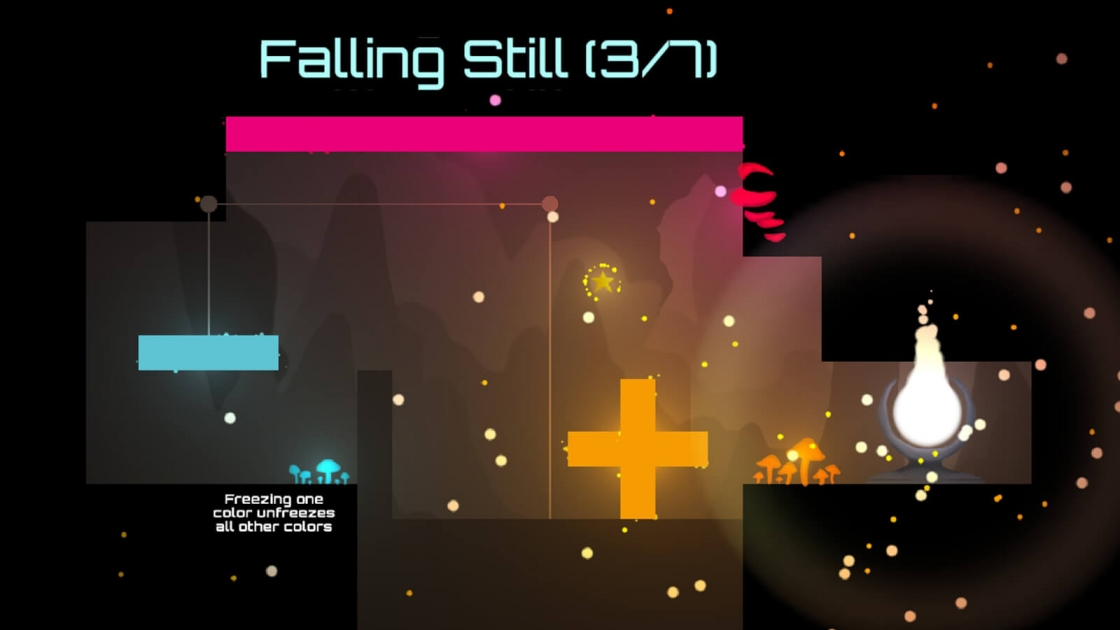 "A level entitled ""Falling Still 3/7"" with pink and blue platforms, informing hte player how to freeze colored platforms."
