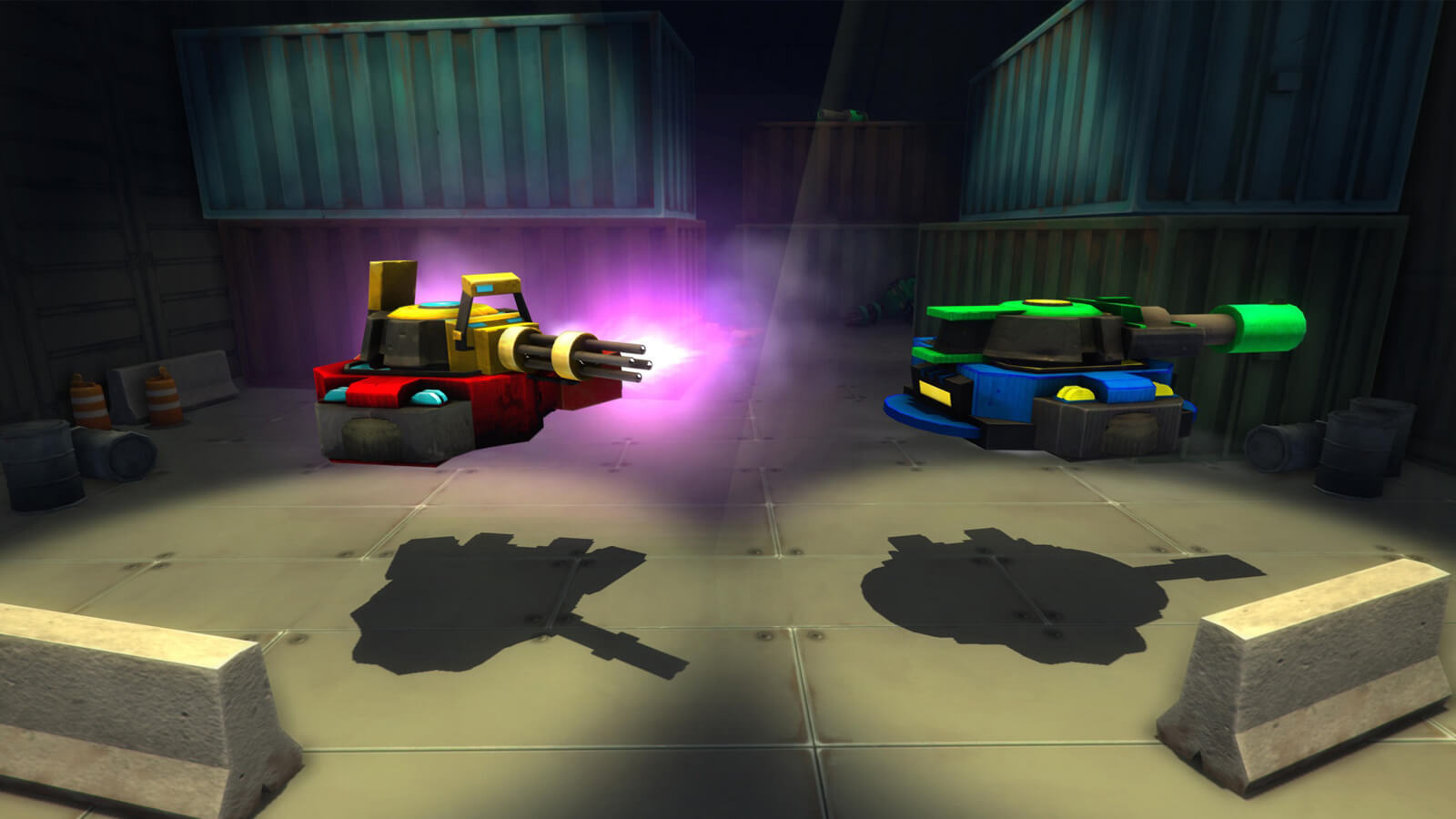 A hover-tank with a yellow machine gun turret and a red base, and another with a green turret and blue base.