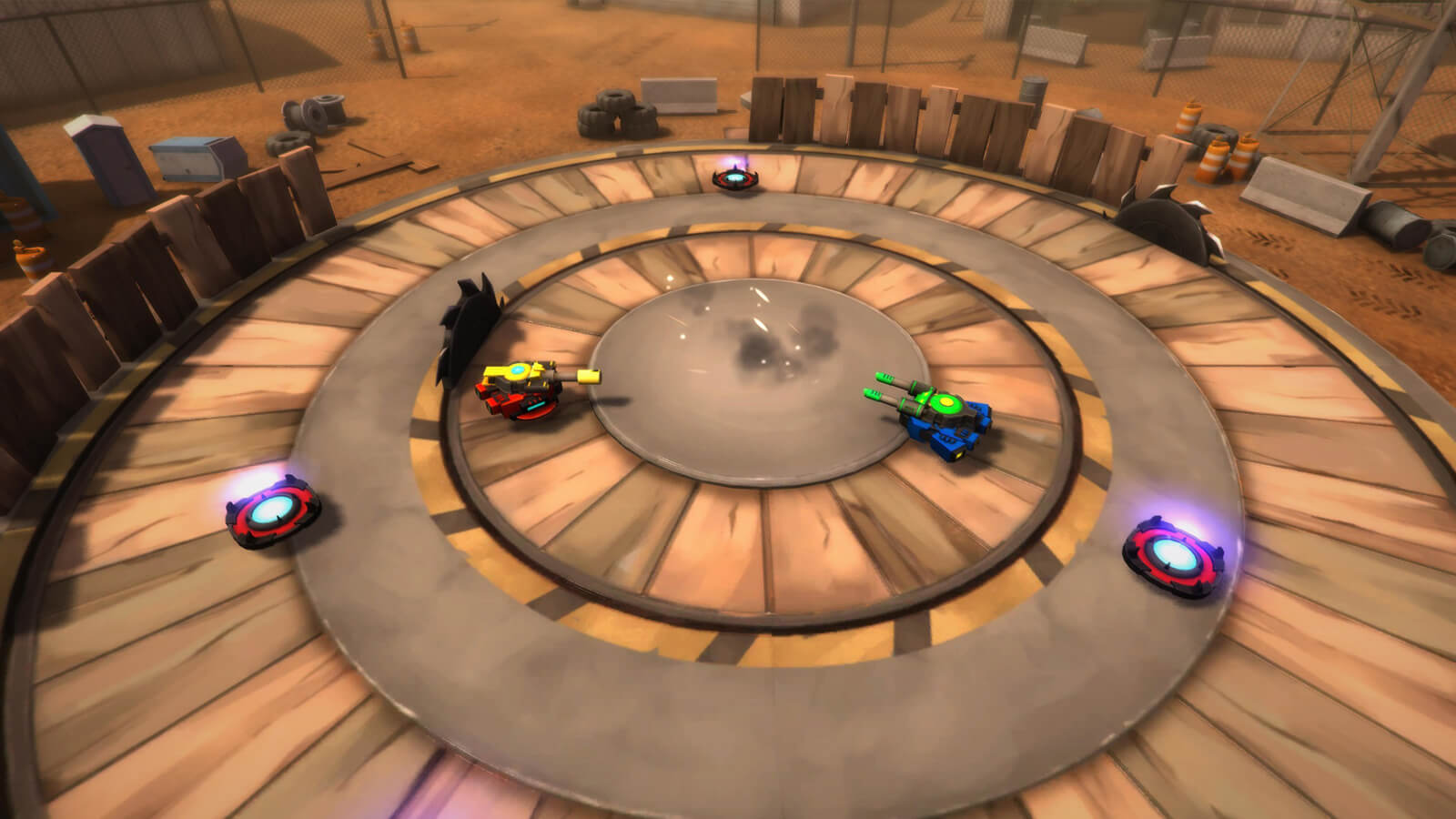 Two hover tanks face each other in a wooden battle arena with saw blades buzzing around them.