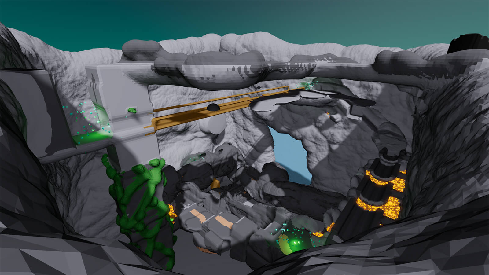 A large grey canyon full of bridges, platforms, and lava.