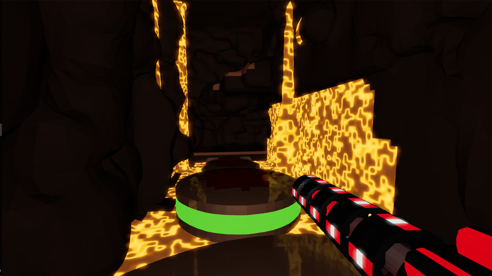 The player holds a long red gun as they navigate a lava-filled pit.