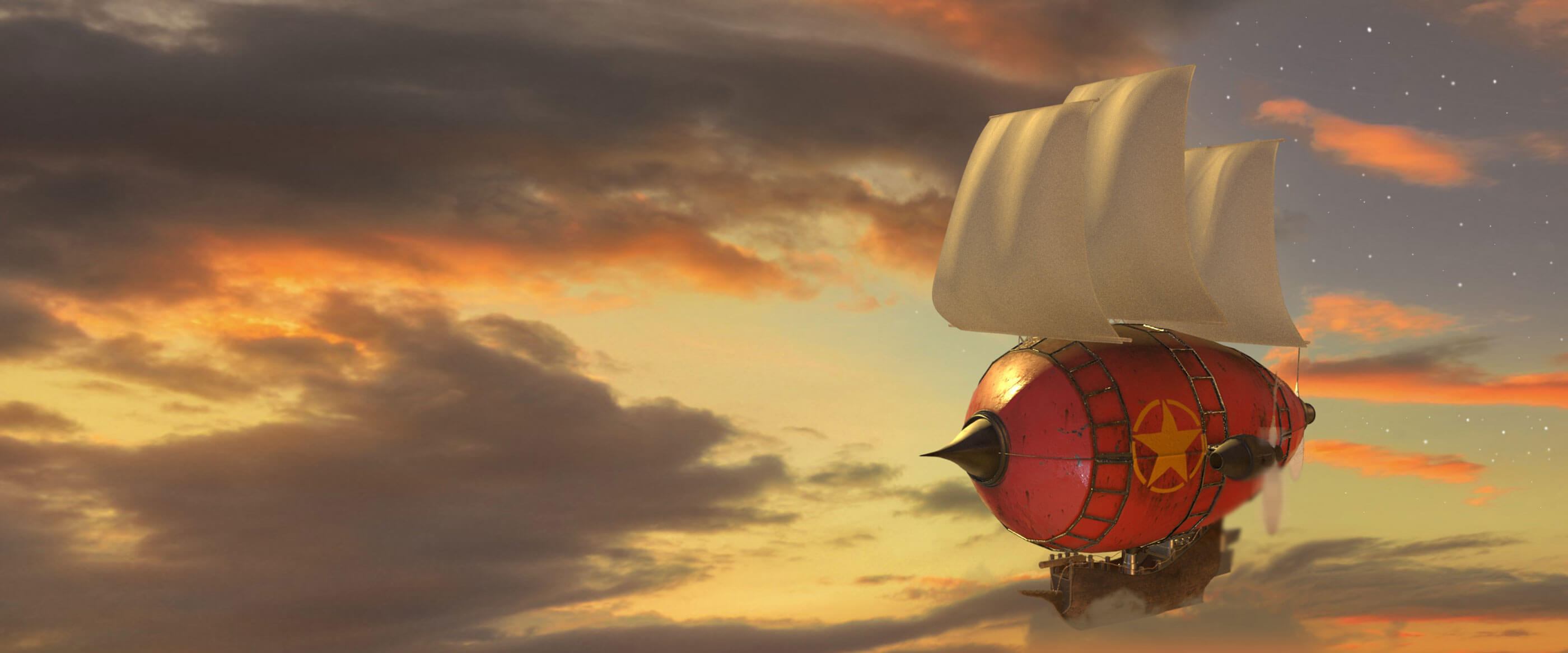 A stylized skyship floats through clouds during sunset