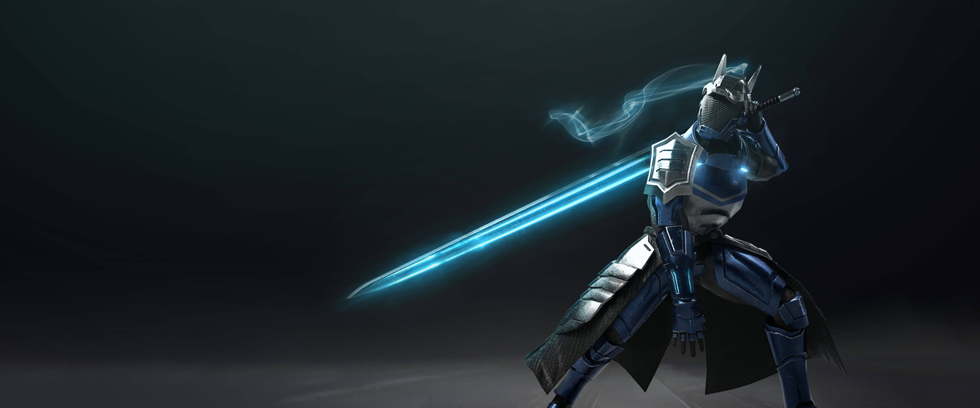 A DigiPen student's digital model of a futuristic knight in blue and chrome trimmed armor posing with a long, glowing blue sword behind its back.