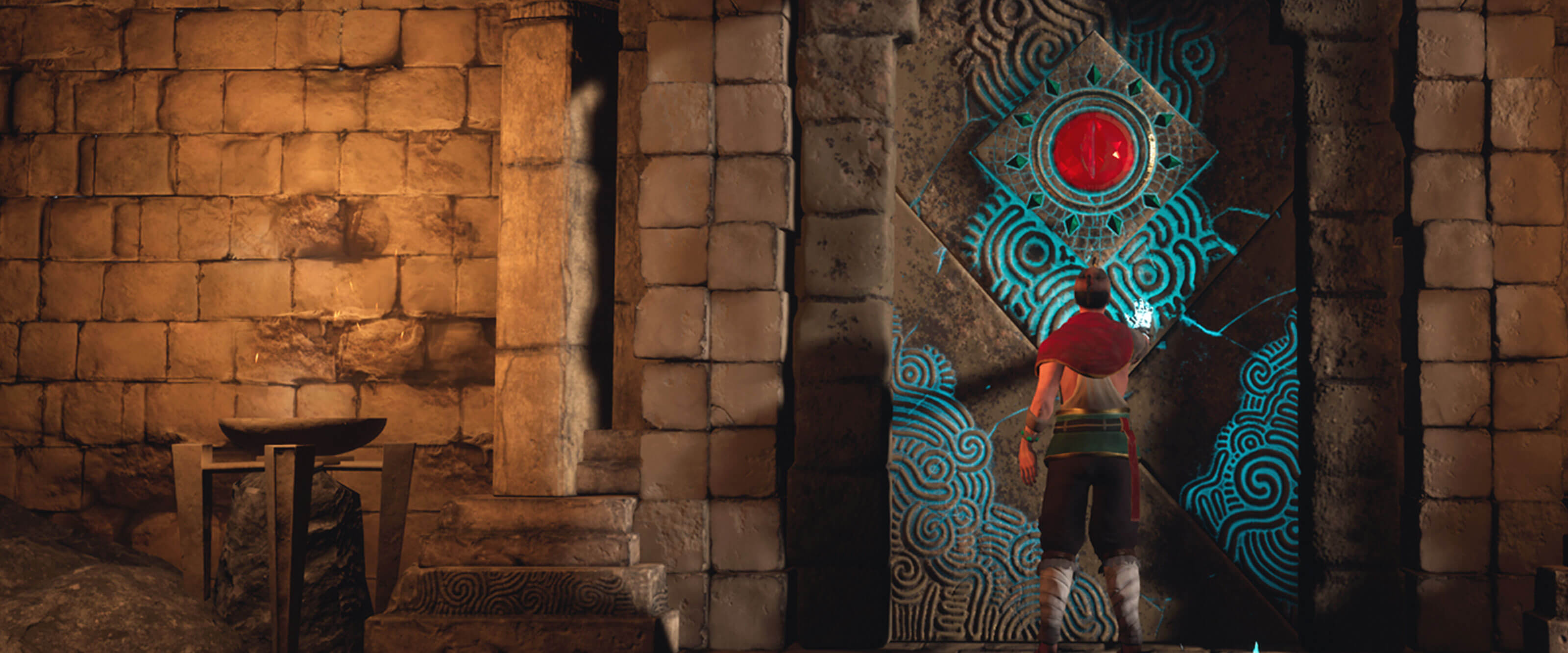 A man in a shawl touches a jeweled stone door lit with blue magic in an ancient temple.