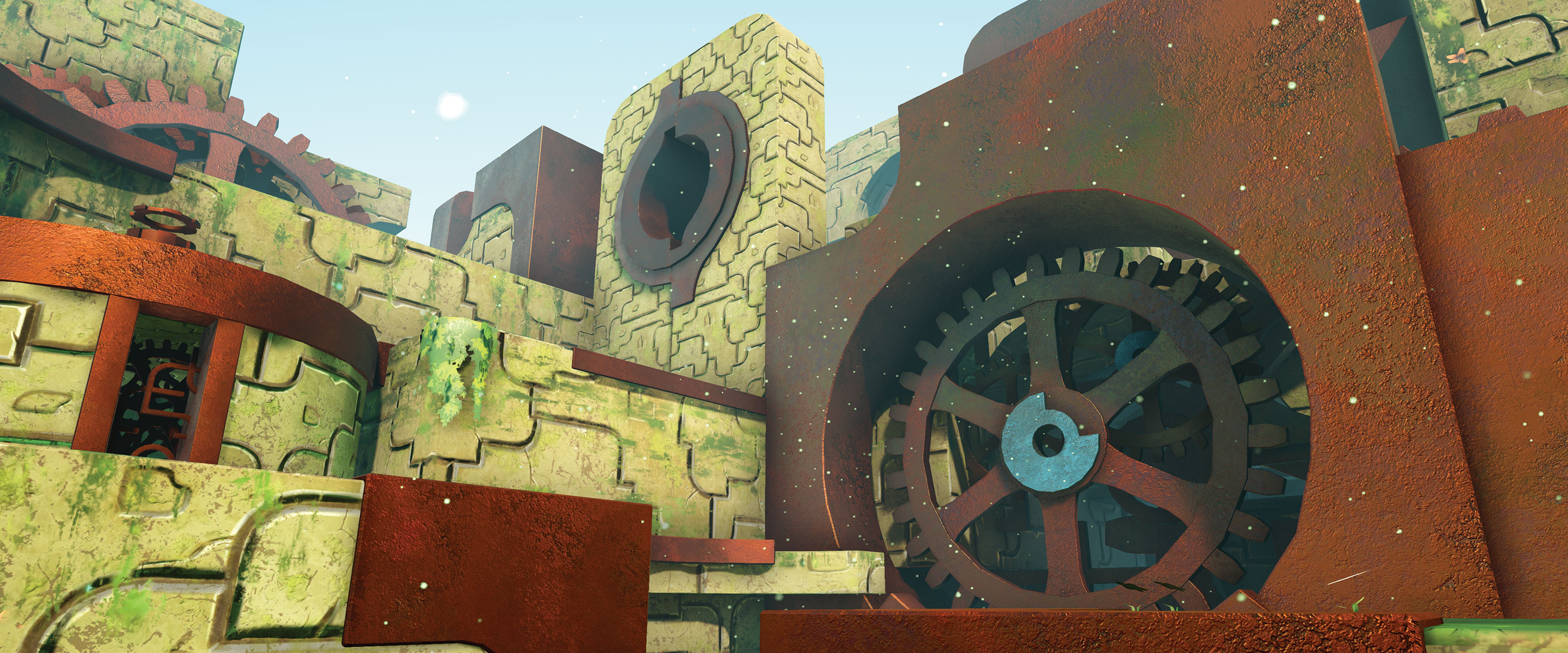 A DigiPen student game screenshot of an ancient stone structure housing giant, rusty gears.