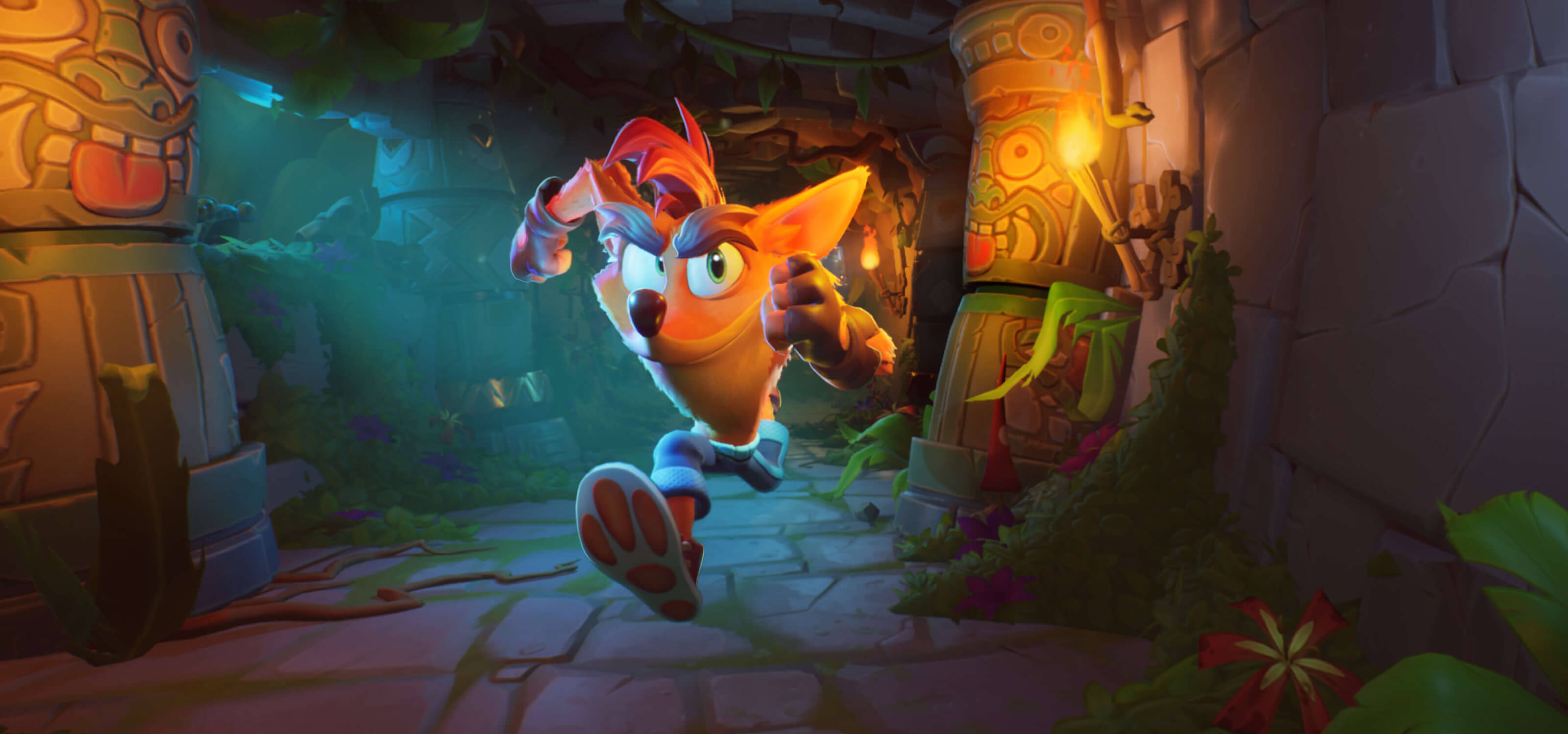 A screenshot from Crash Bandicoot 4: It's About Time depicting Crash running down a temple hallway.