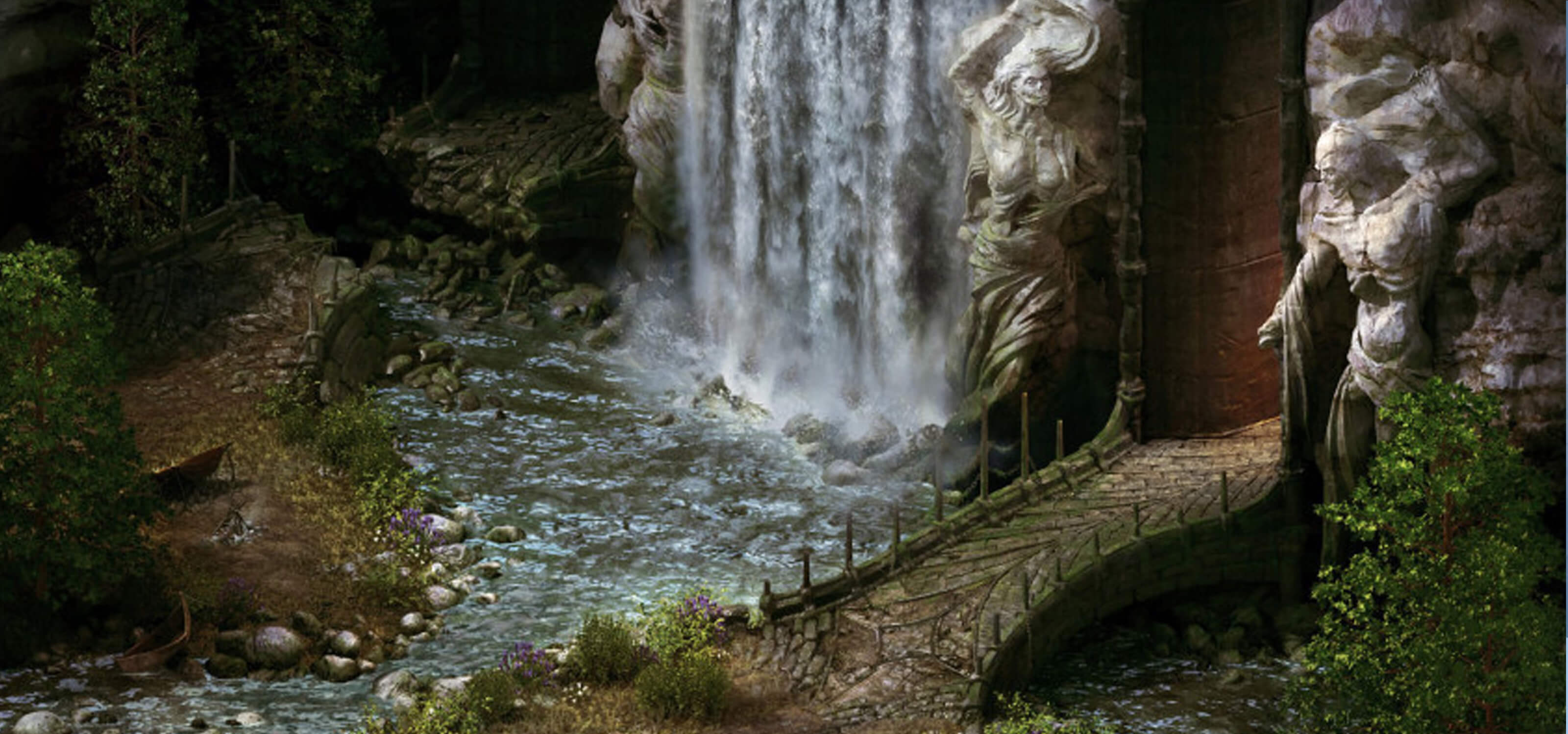 Illustration from Project Eternity of a waterfall and path leading to a massive door in a stone wall