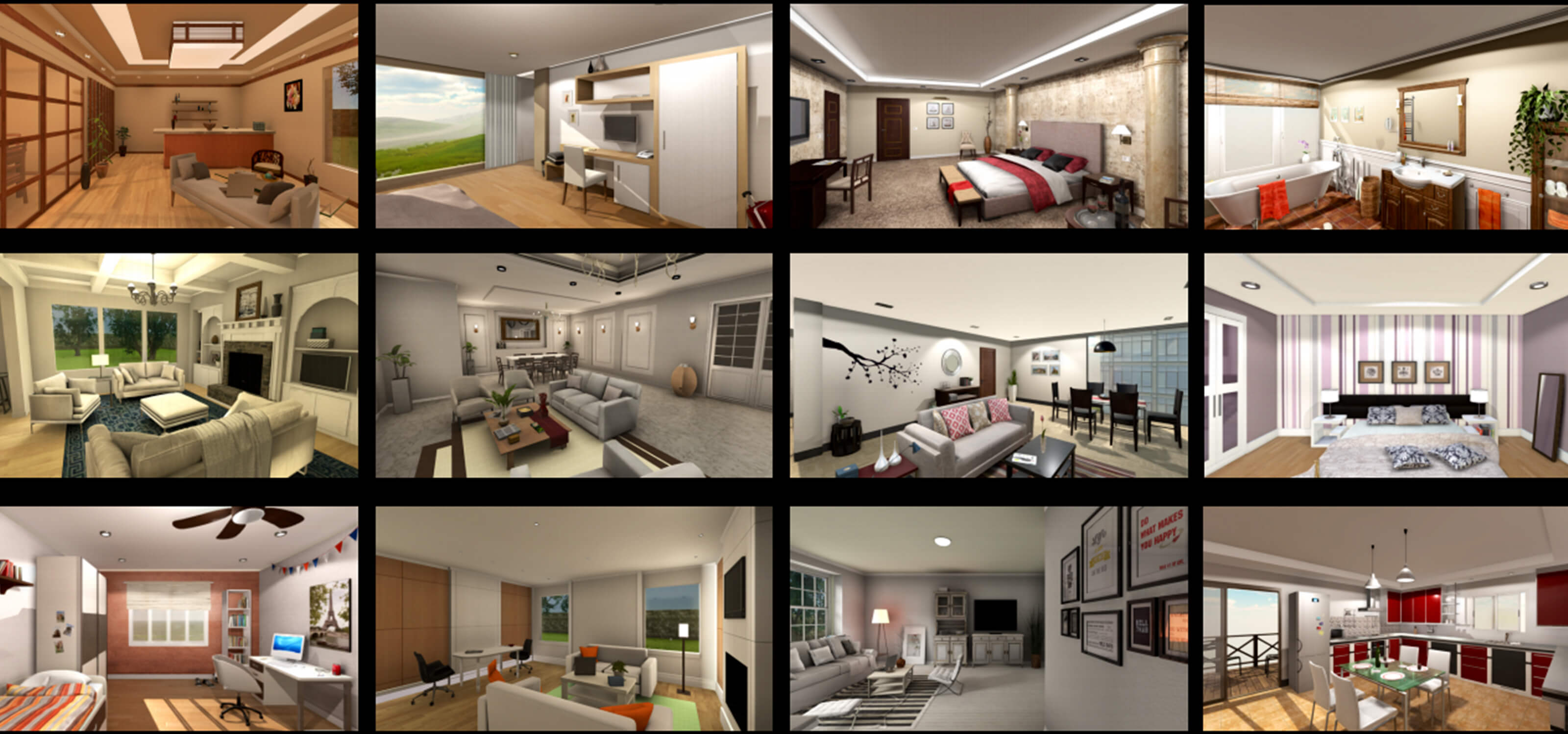 "A collage of room environments from the Allen Institute for AI's ""AI2-THOR"" project."