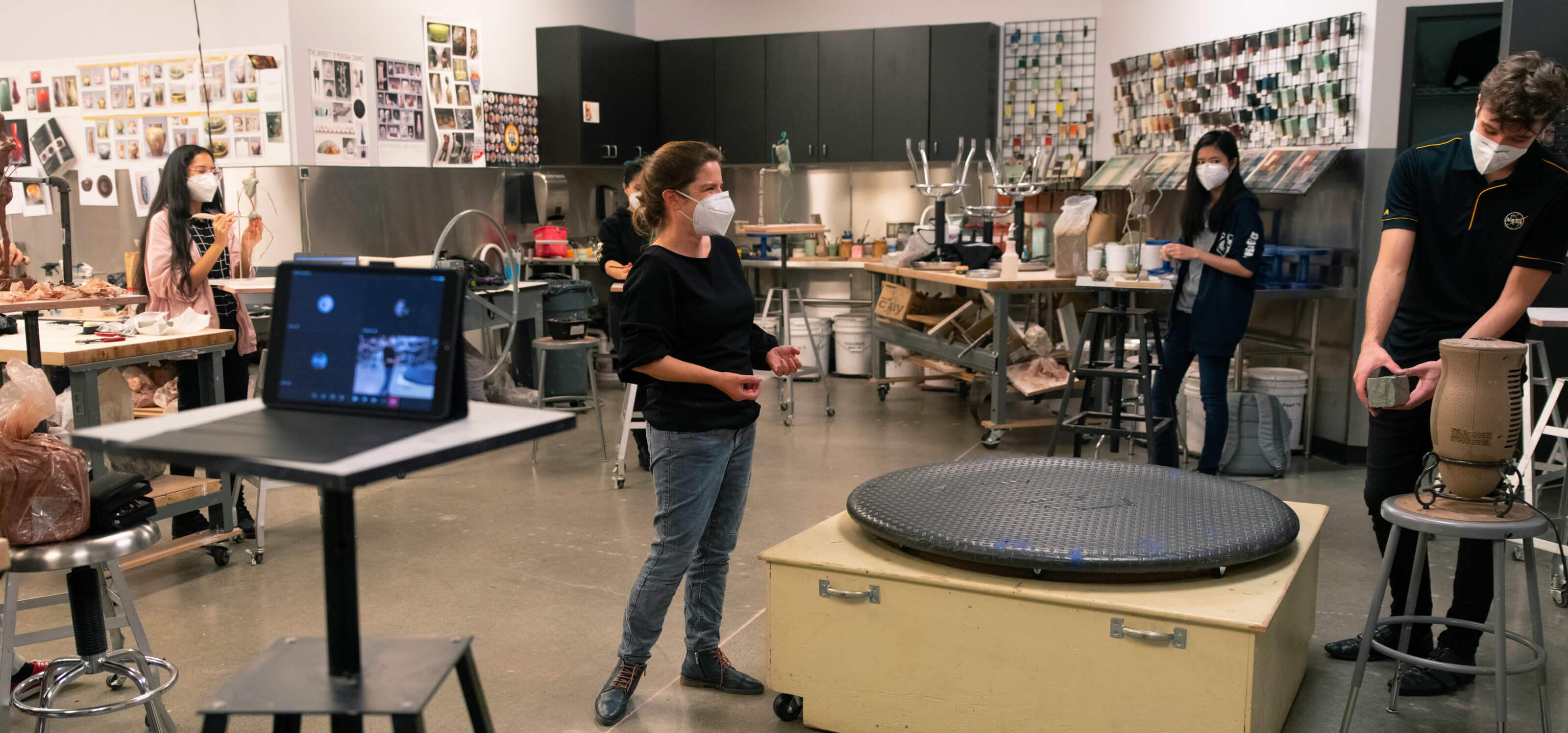 Alecia Rossano teaches figure sculpture in the studio classroom.