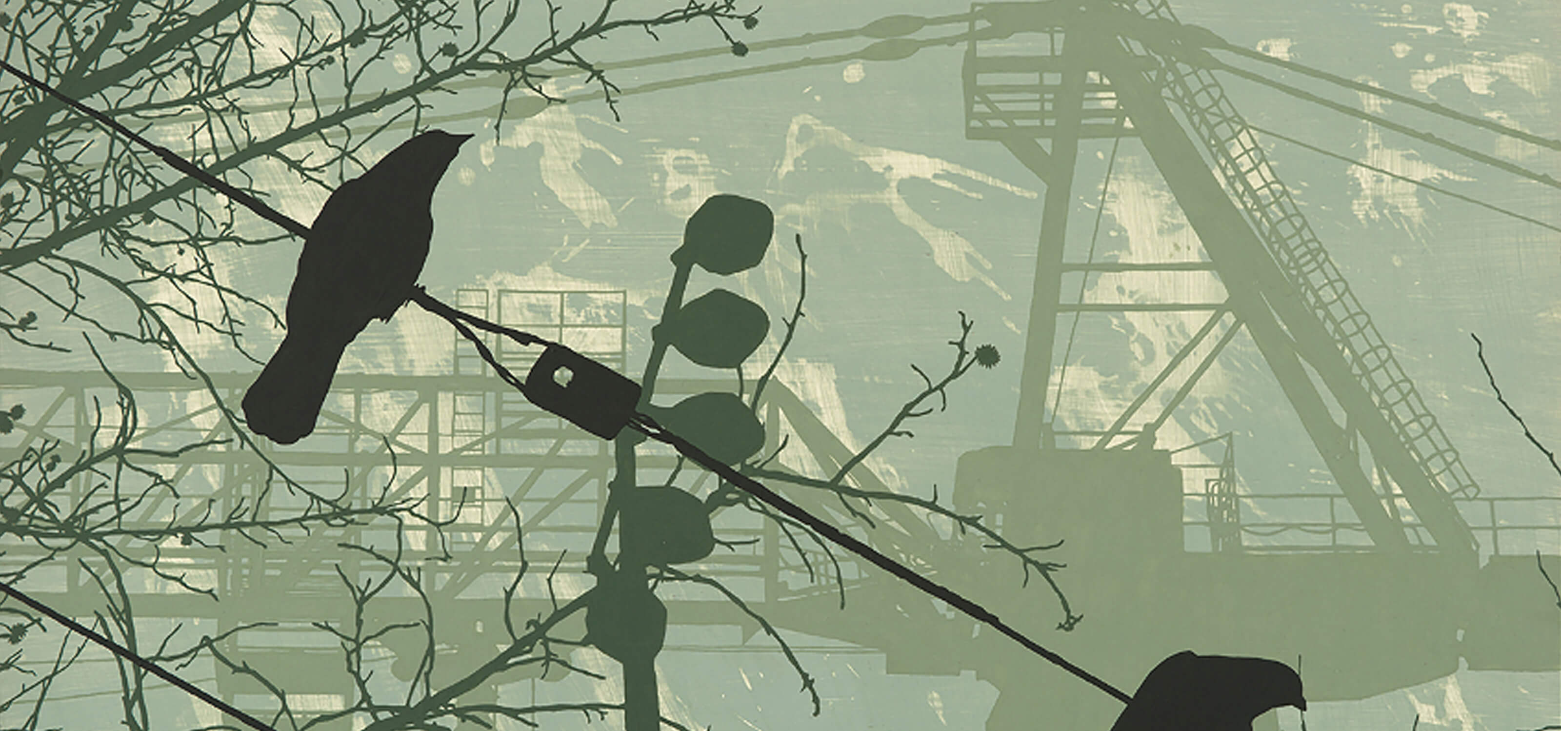 DigiPen MFA student Alex Bennett's painting of crows on a telephone wire with a construction crane in the background