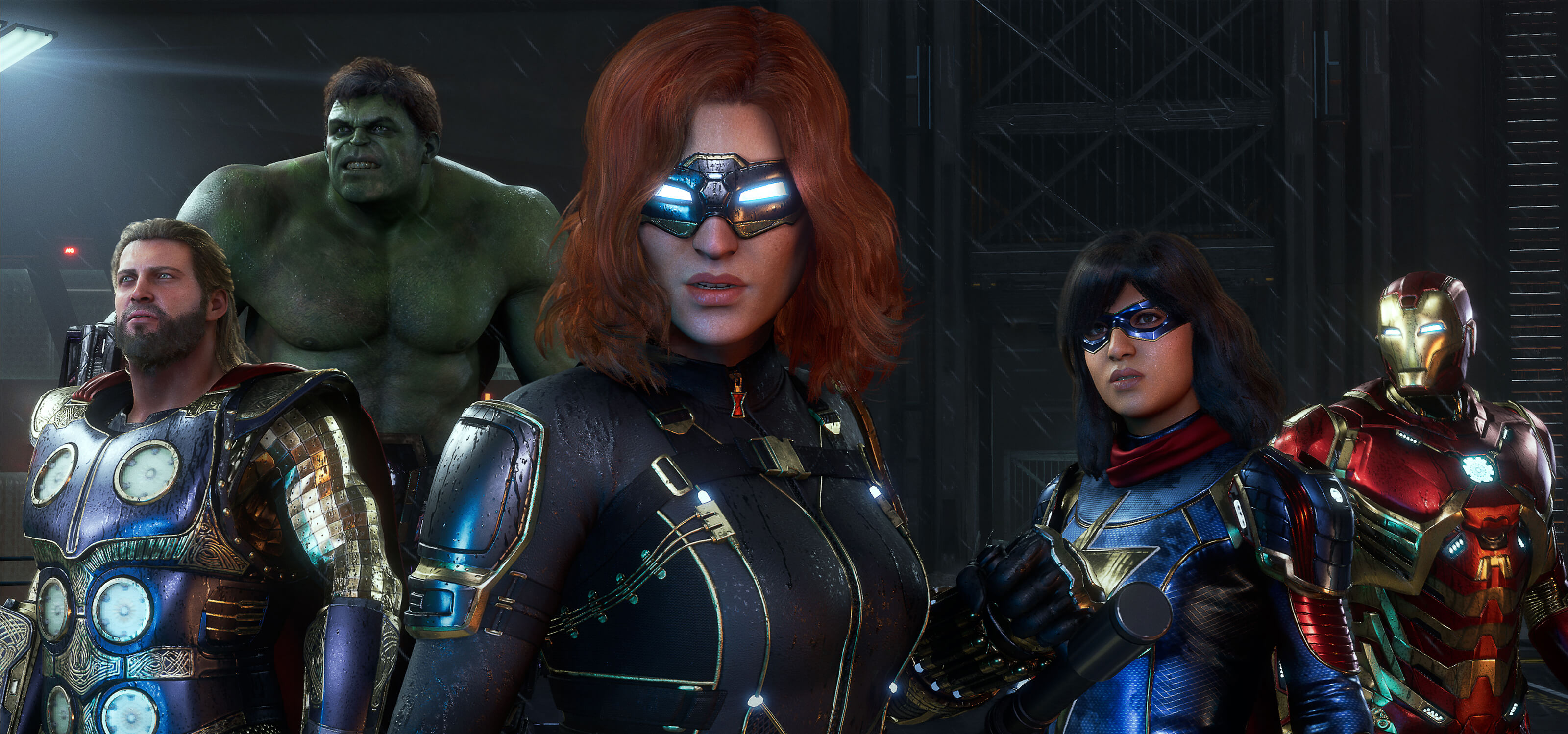 Thor, The Hulk, Black Widow, Ms. Marvel, and Iron Man stand side by side in a screenshot from Marvel's Avengers