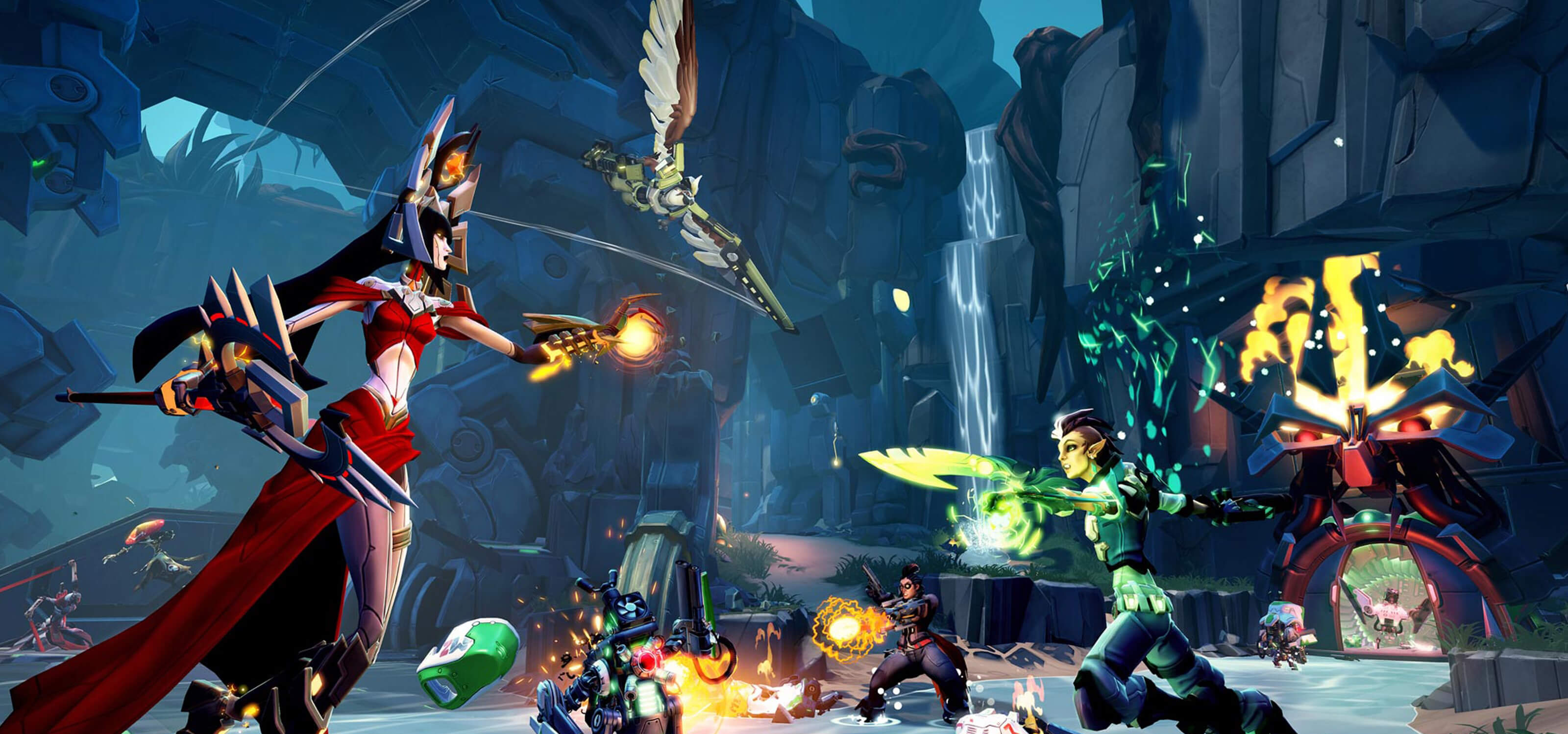 Screenshot of various colorful Battleborn characters competing in a cavern in meltdown mode