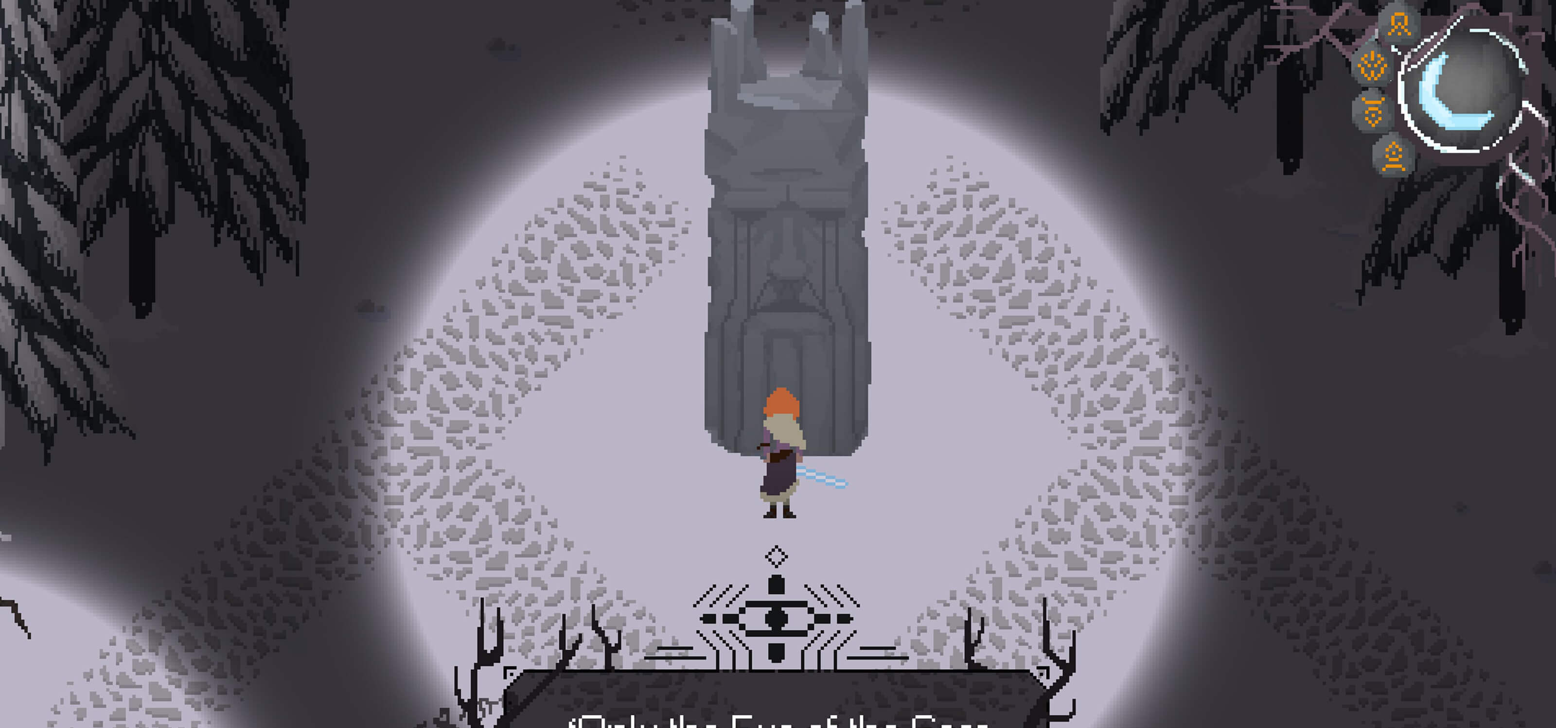 Screenshot from DigiPen student game The Blade in the Bark of the orange-haired heroine meeting the seer statue