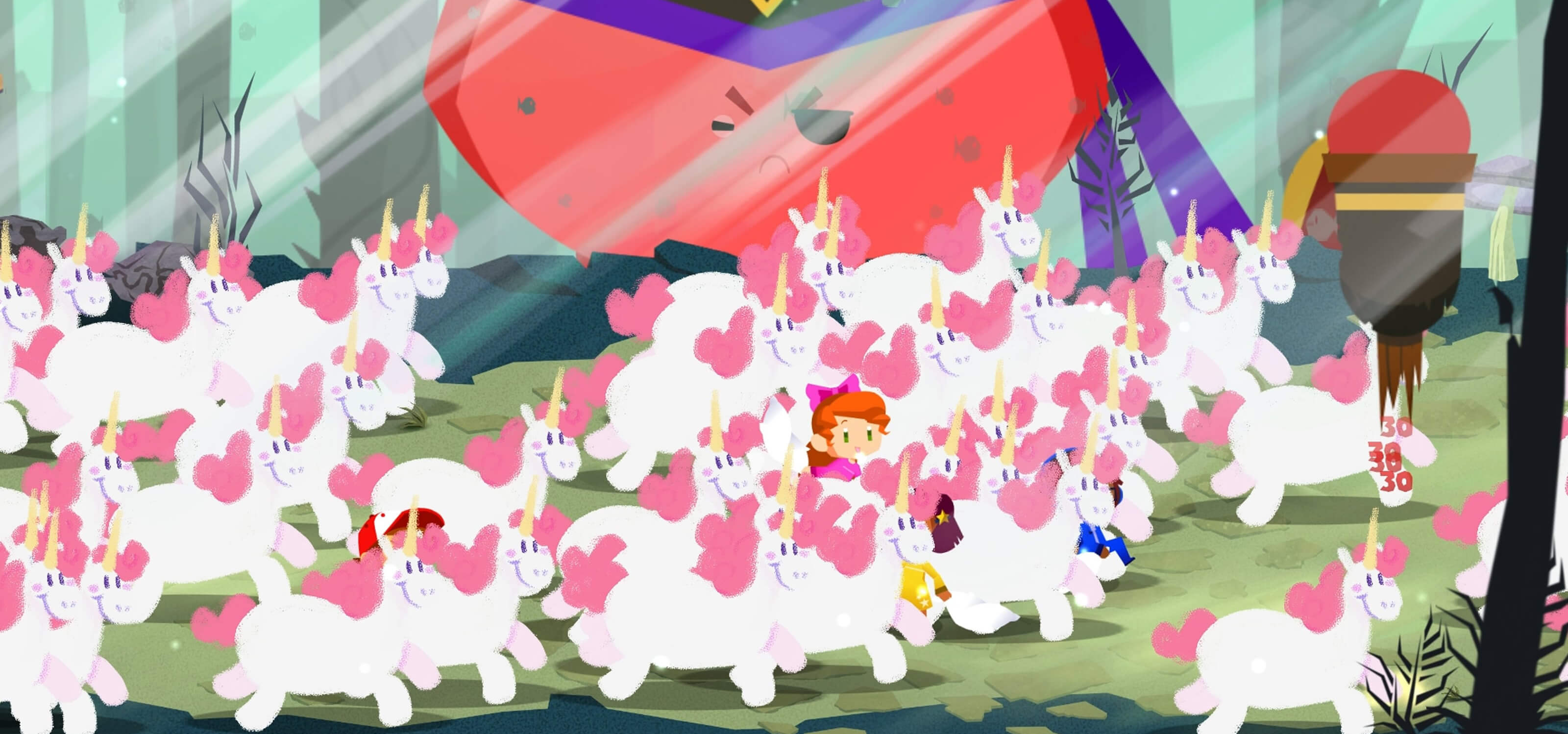 Screenshot from DigiPen student game Book of Dreams, featuring characters among a herd of identical unicorns