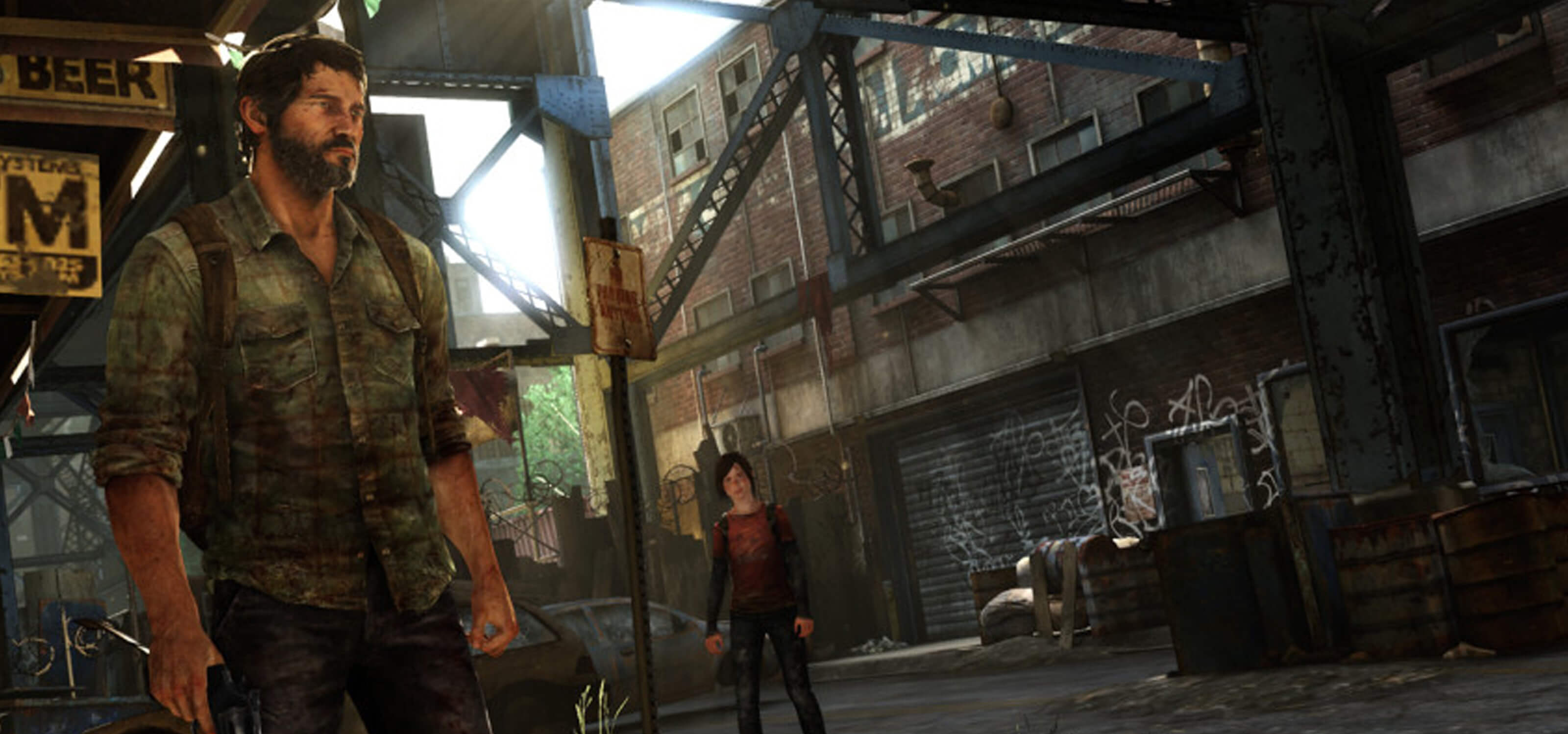 Screenshot from the Naughty Dog game The Last of Us, featuring two characters in a graffiti-covered alley