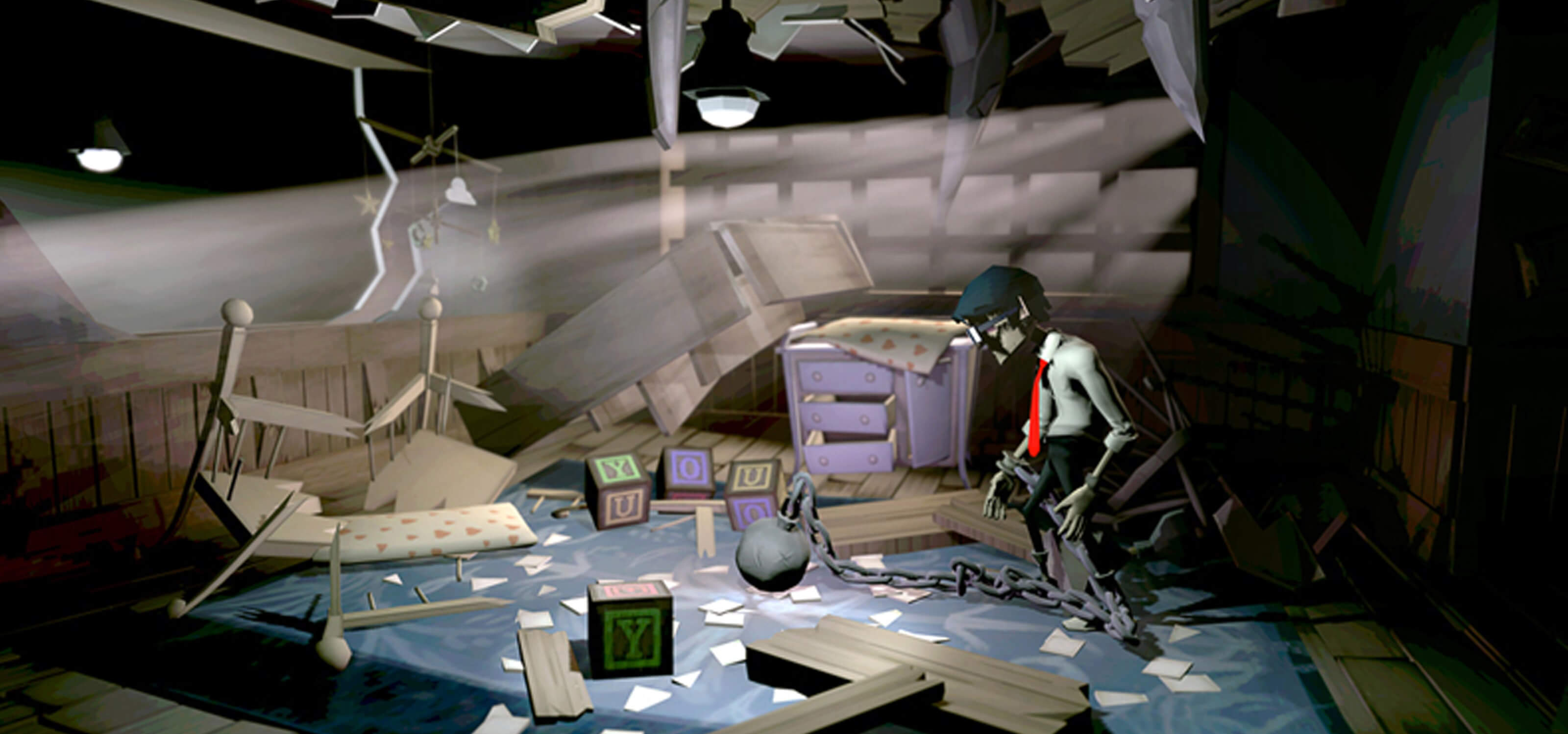 Screenshot from DigiPen student game Chained featuring the main character looking around a destroyed nursery