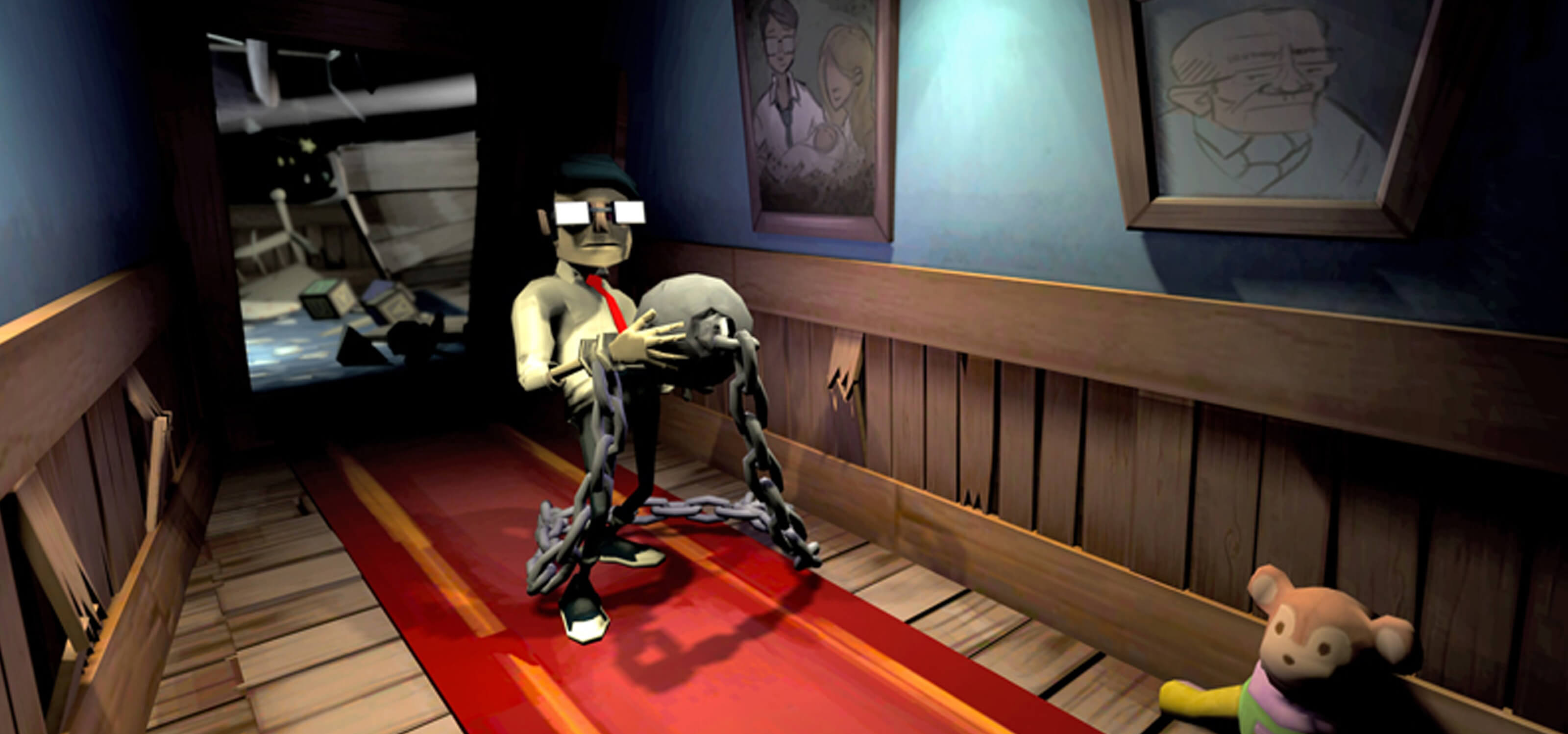 Screenshot from DigiPen student game Chained featuring a young man stumbling down a hallway carrying a ball and chain