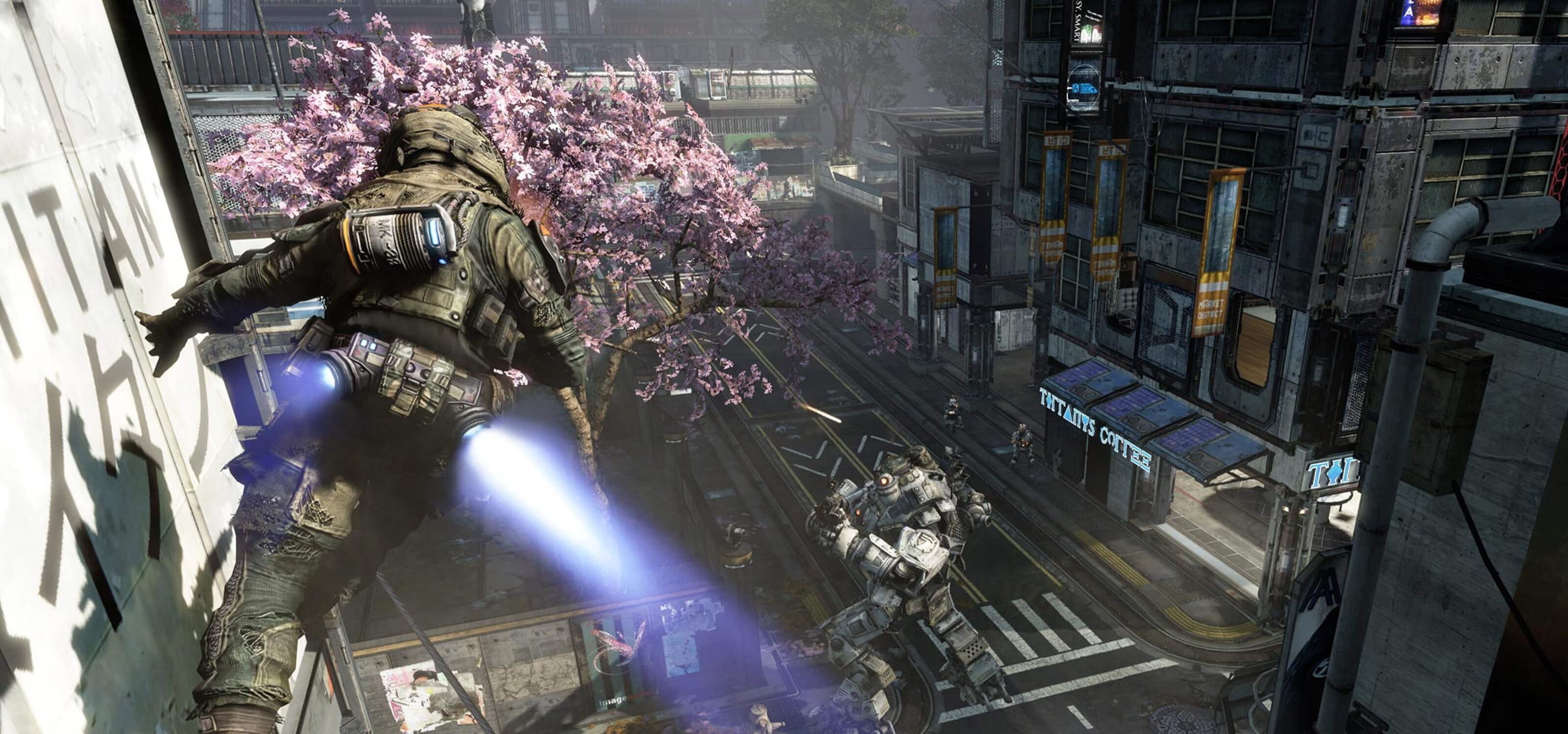 Screenshot of a pilot character running onto and along a wall above a Titan