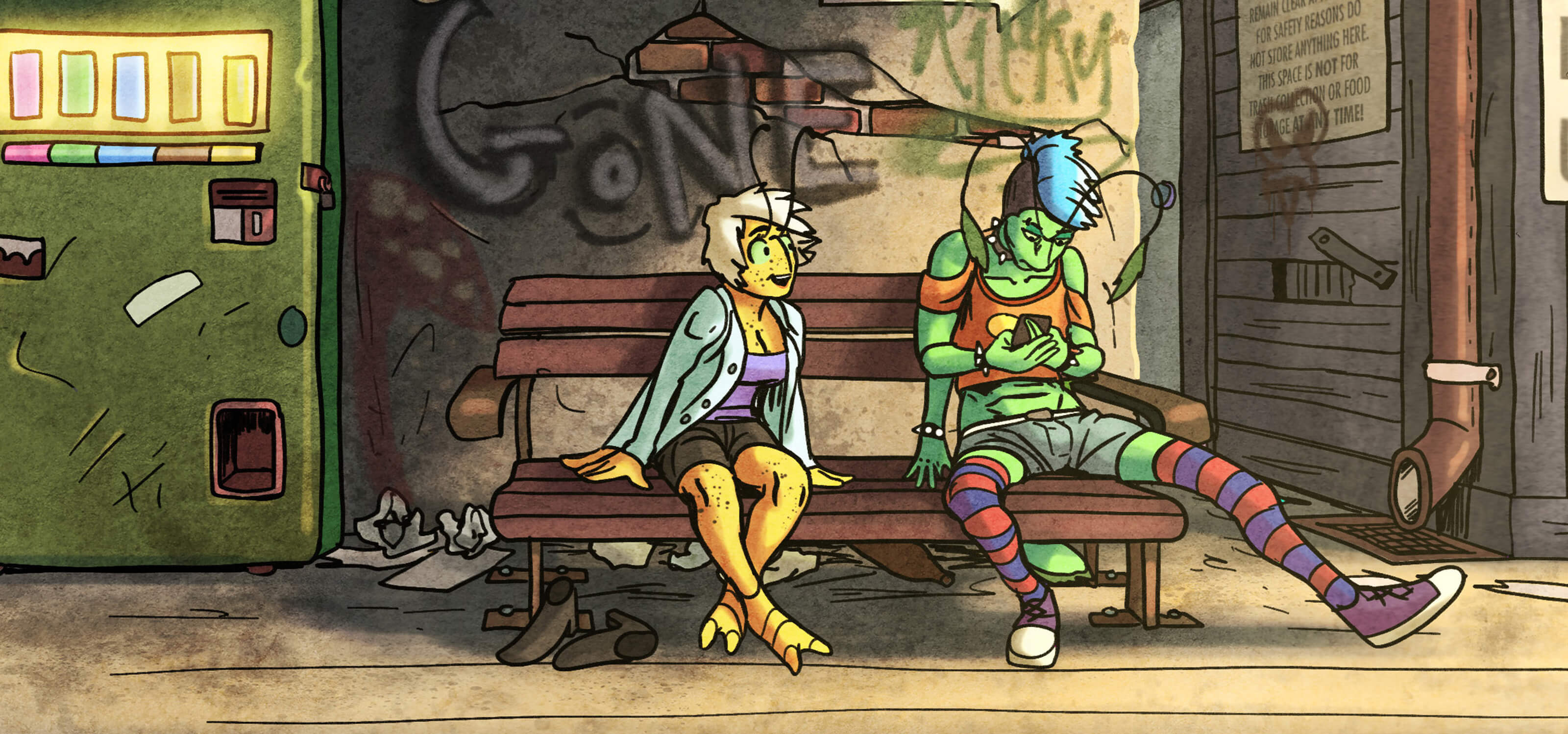 """Two bugs from the """"Coleary"""" graphic novel sit next to each other on a city bench."""