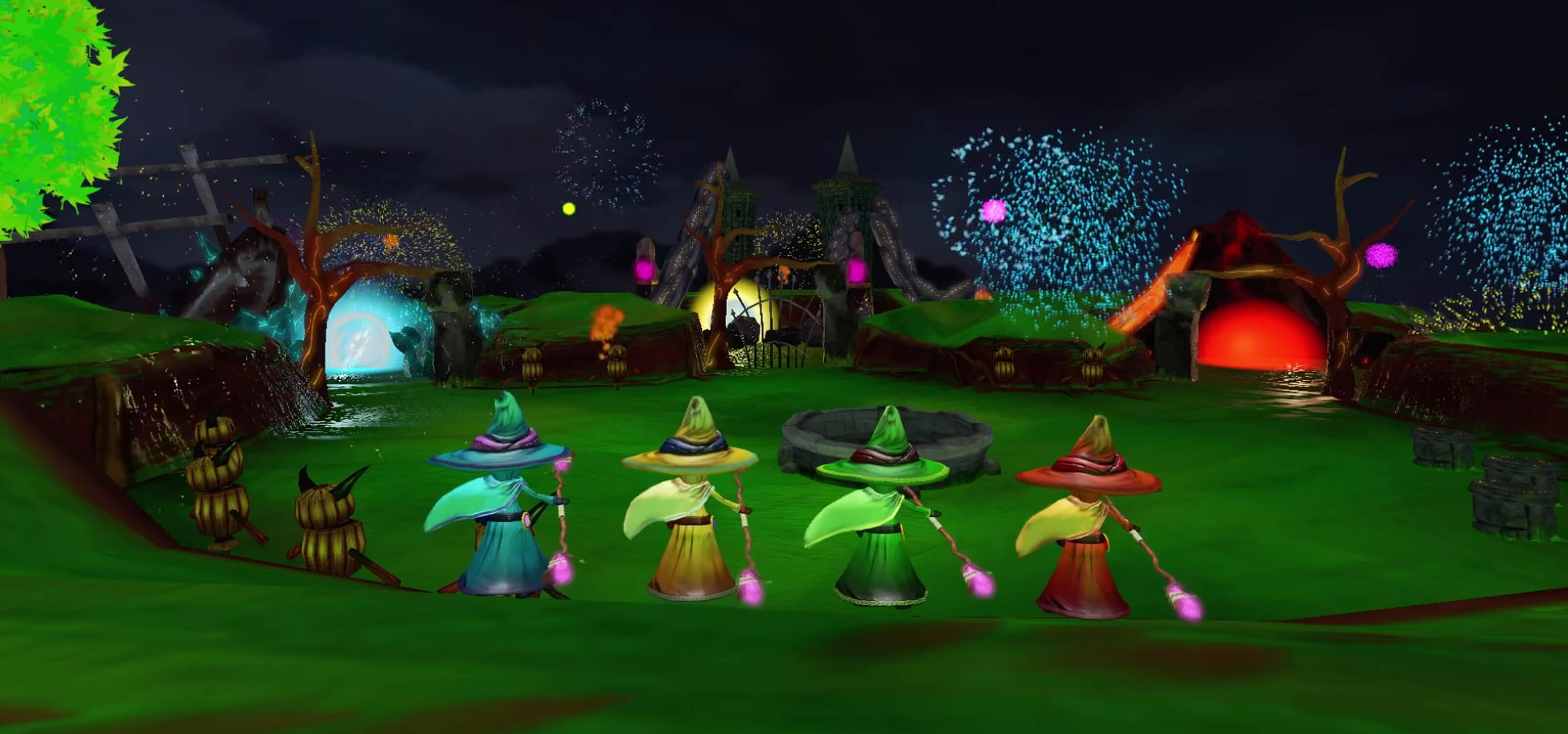 Four colorful wizards in a darkened field in a screenshot from DigiPen student game Chronomancers