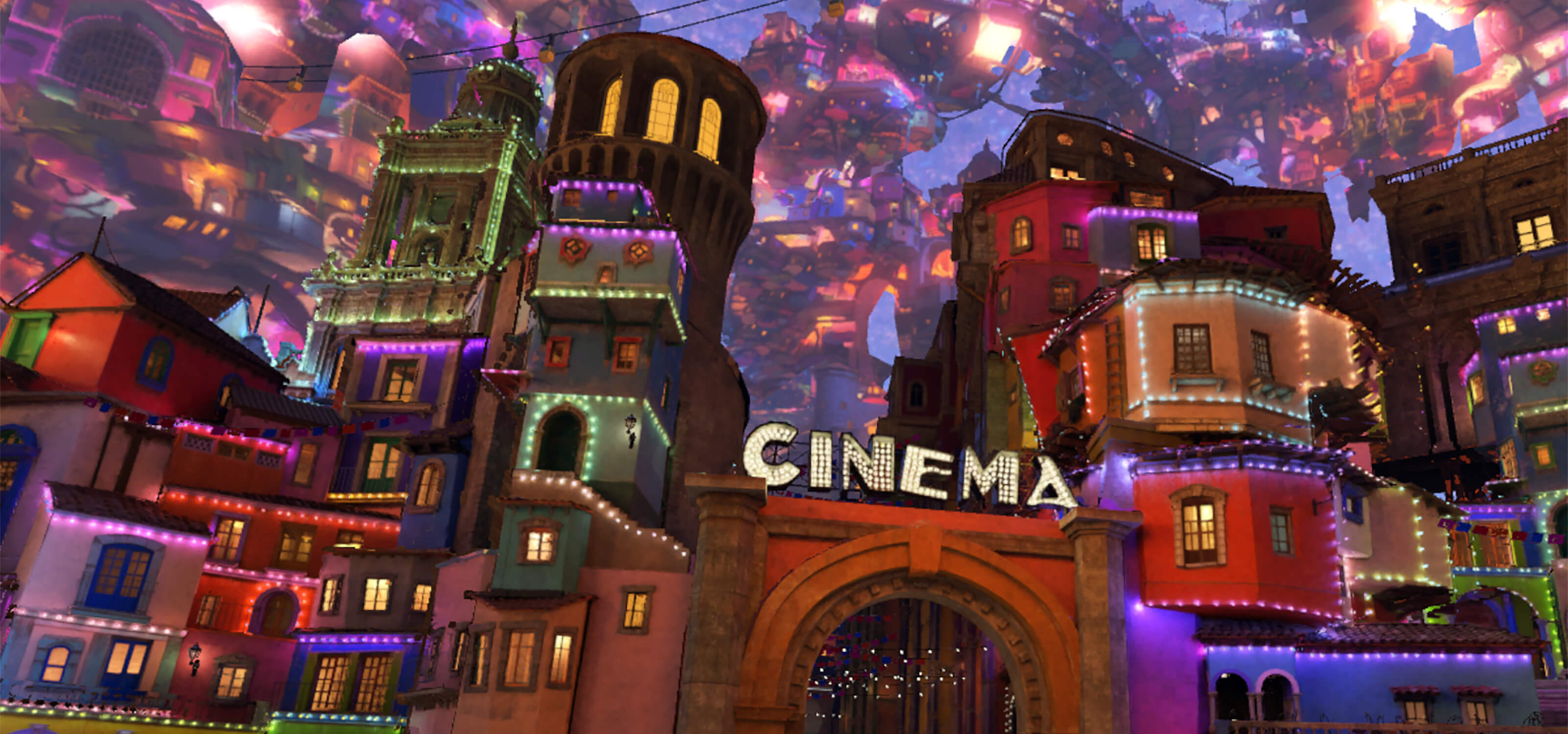 The Land of the Dead as depicted in Disney's Coco VR.