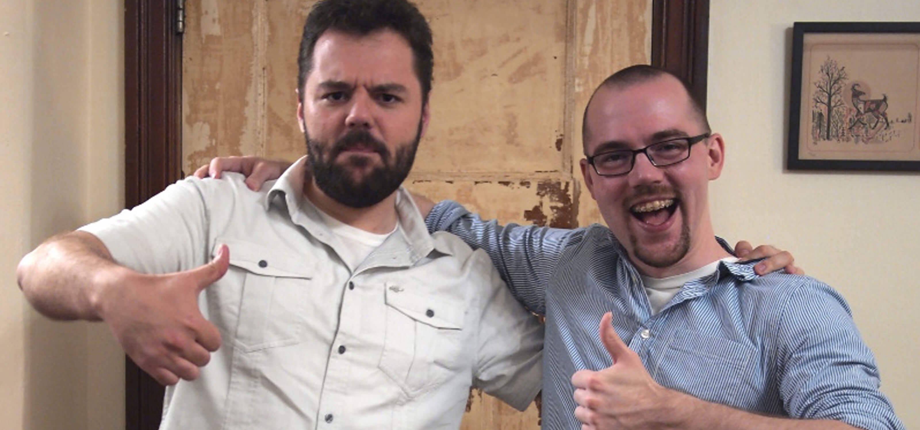 DigiPen graduate brothers Cody and Cale Haskell giving thumbs-up to the camera