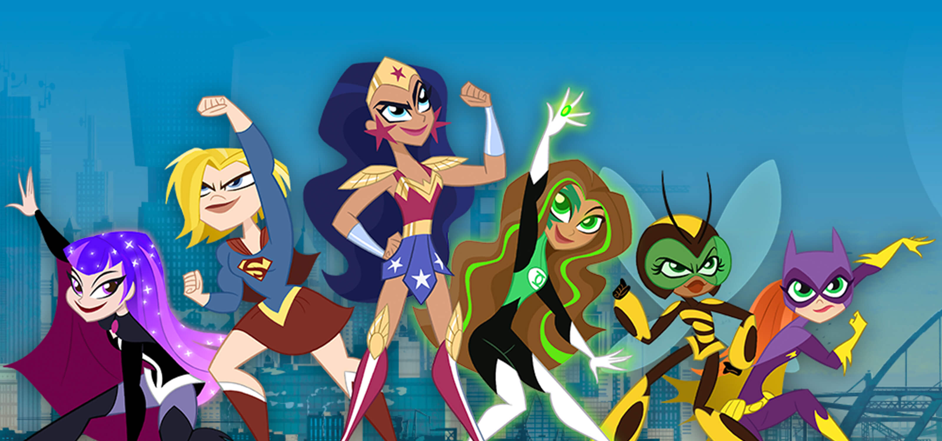 The cartoon cast of DC Super Hero Girls in various action poses.