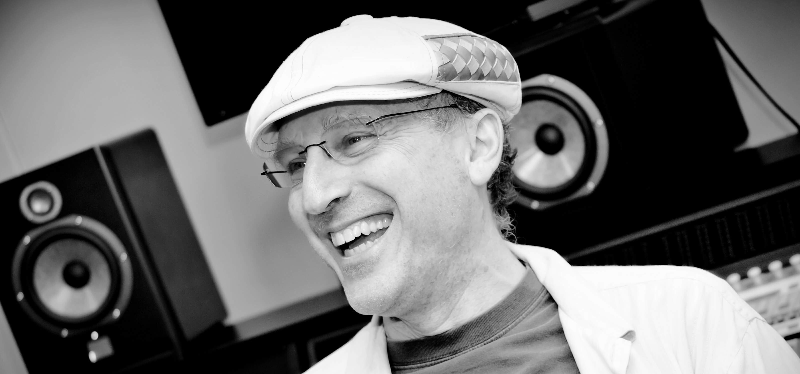 Composer David Kitay laughing in the DigiPen sound lab
