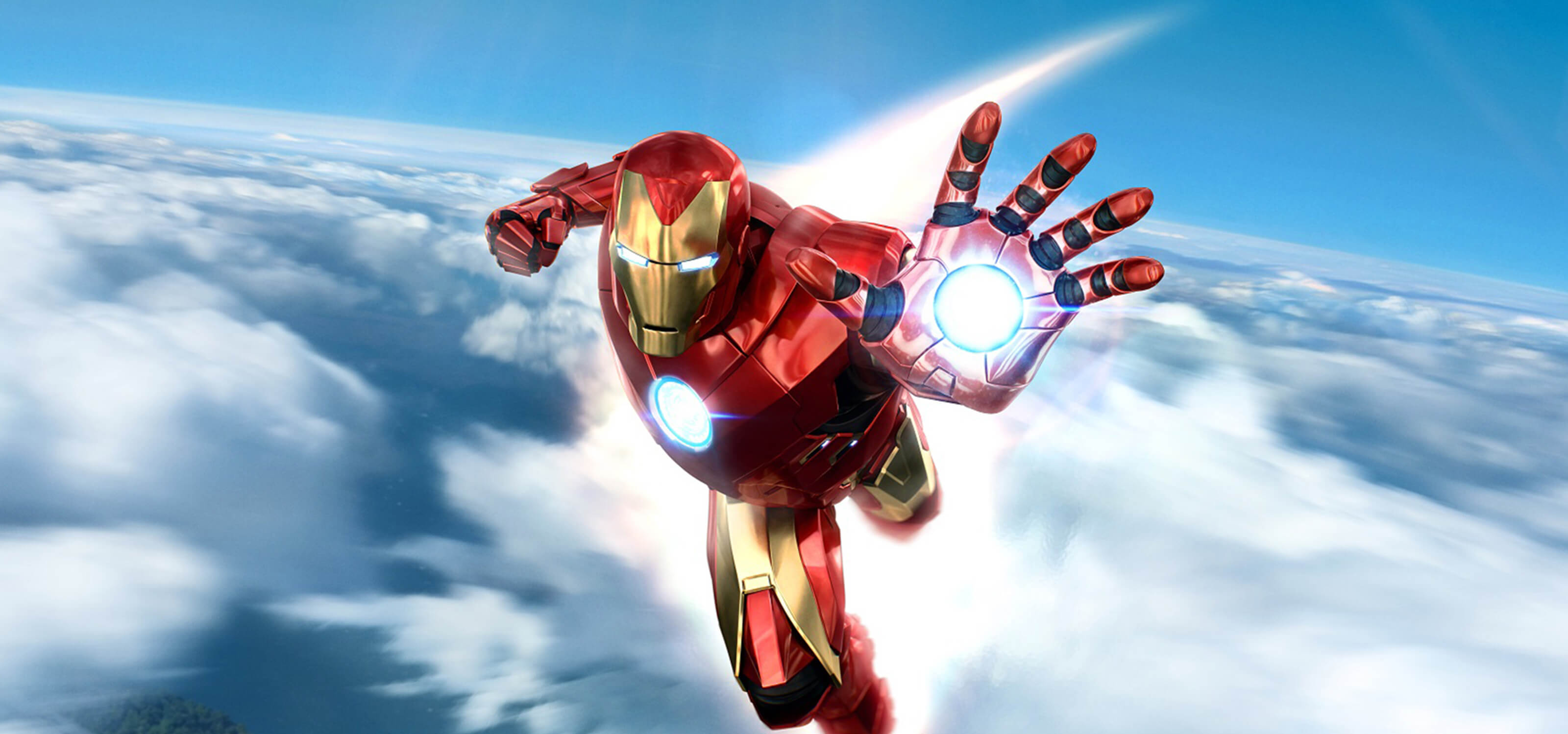 Iron Man flies through the sky with his fist at the ready.