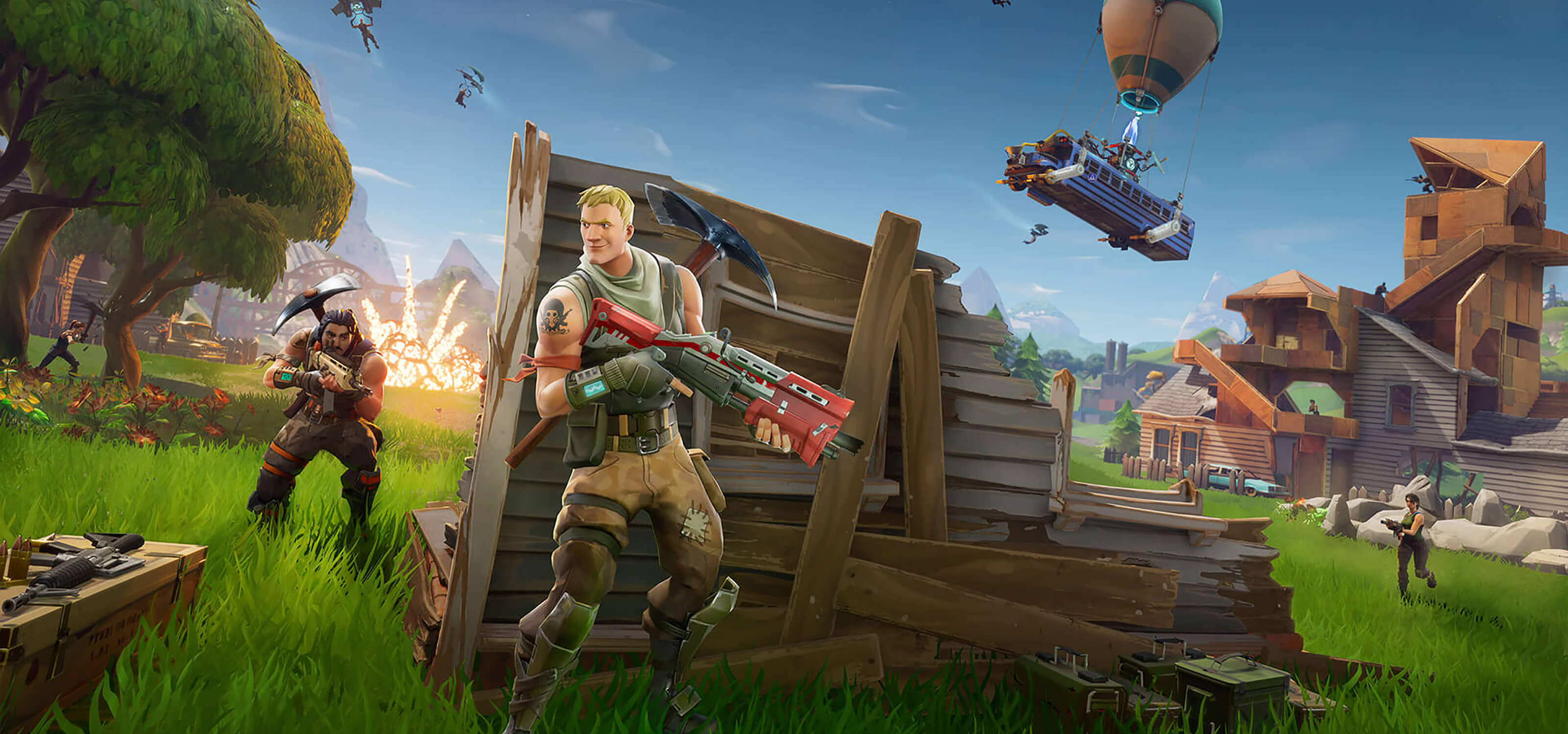 Screenshot from Epic Games' Fortnite featuring a character smiling as he hides behind a wooden barricade