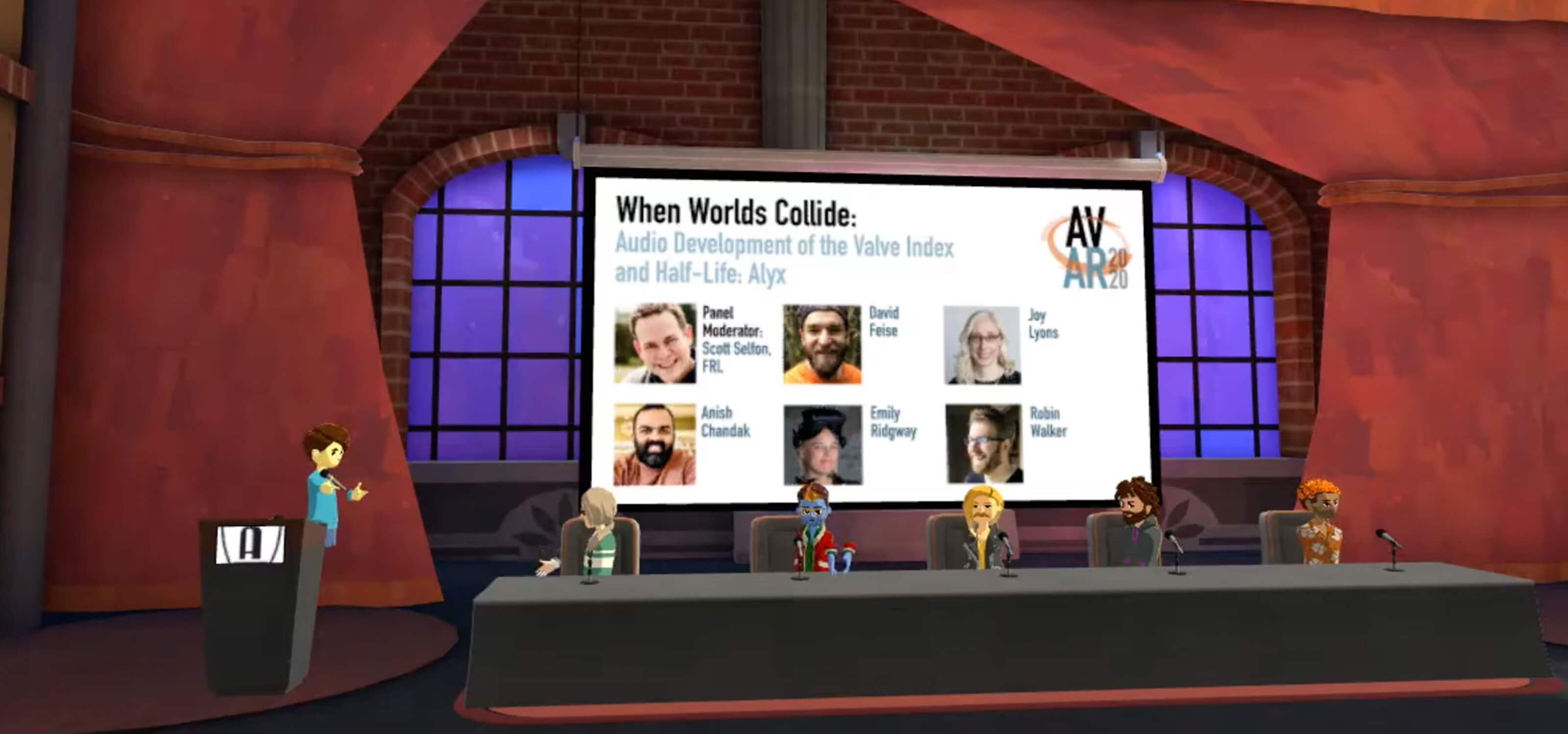 VR avatars of Valve audio designers sit for a panel discussion in a virtual conference room.