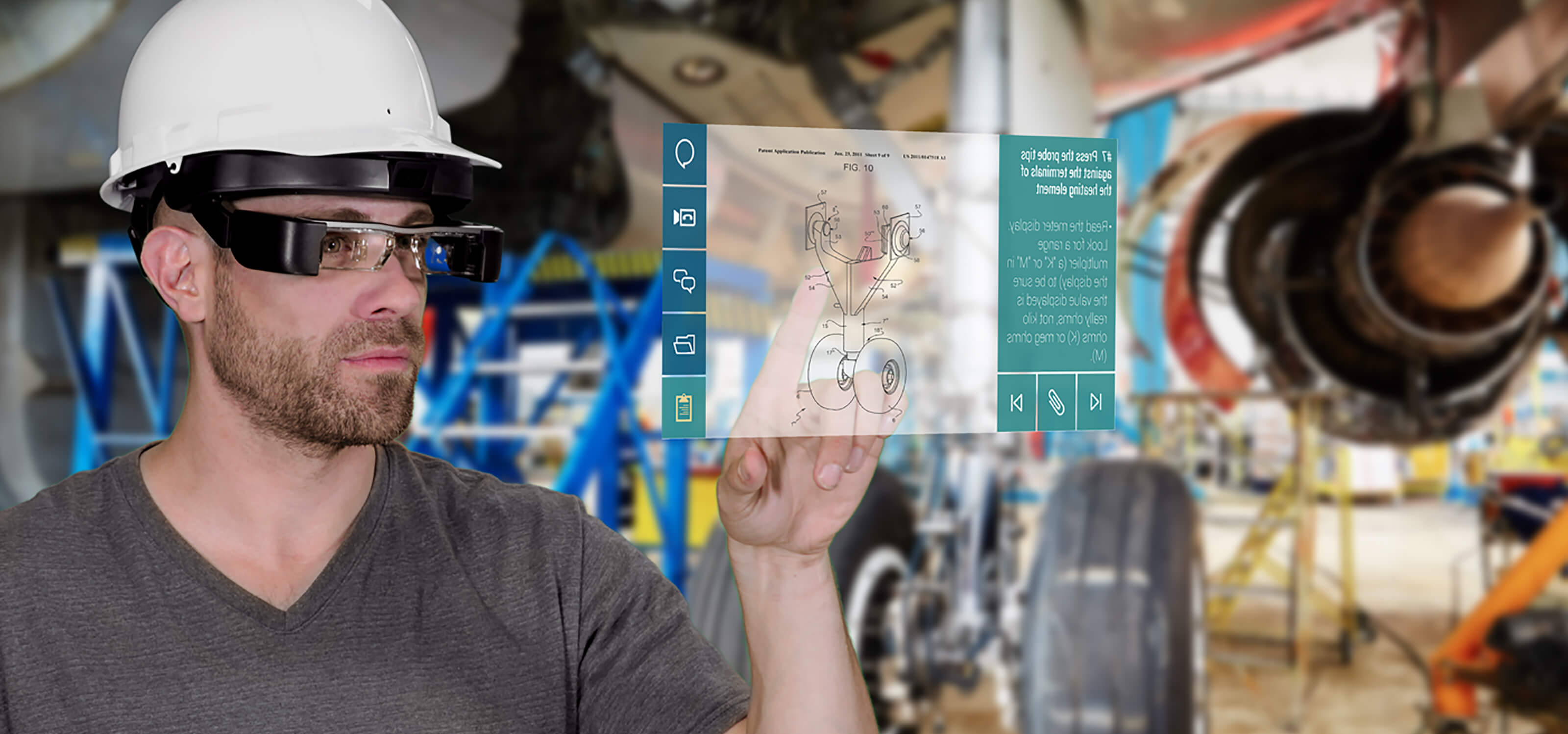 An aerospace engineer wearing a hard hat and Atheer AR's wearable augmented reality glasses interacts with an AR interface displaying schematics of a plane part.