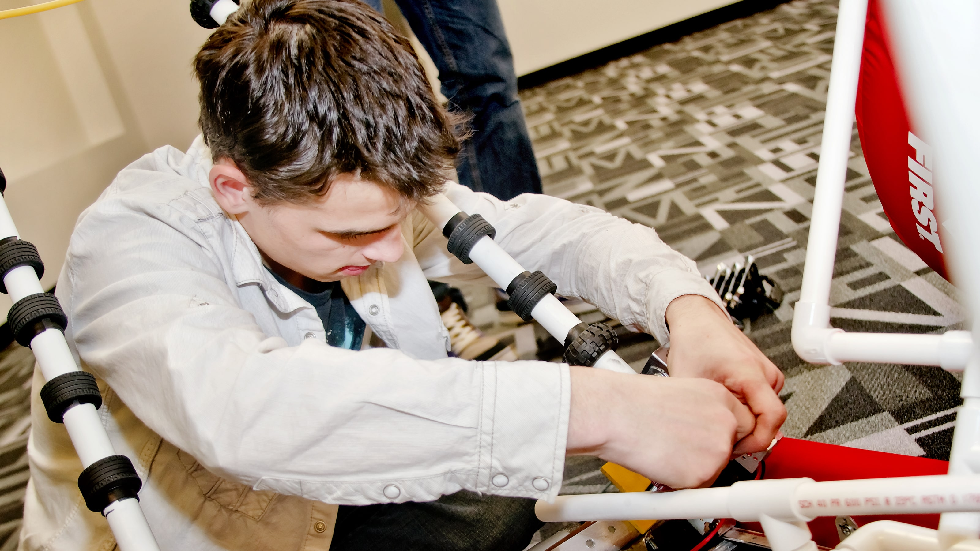 DigiPen WaNIC student working on robot acquisition arms