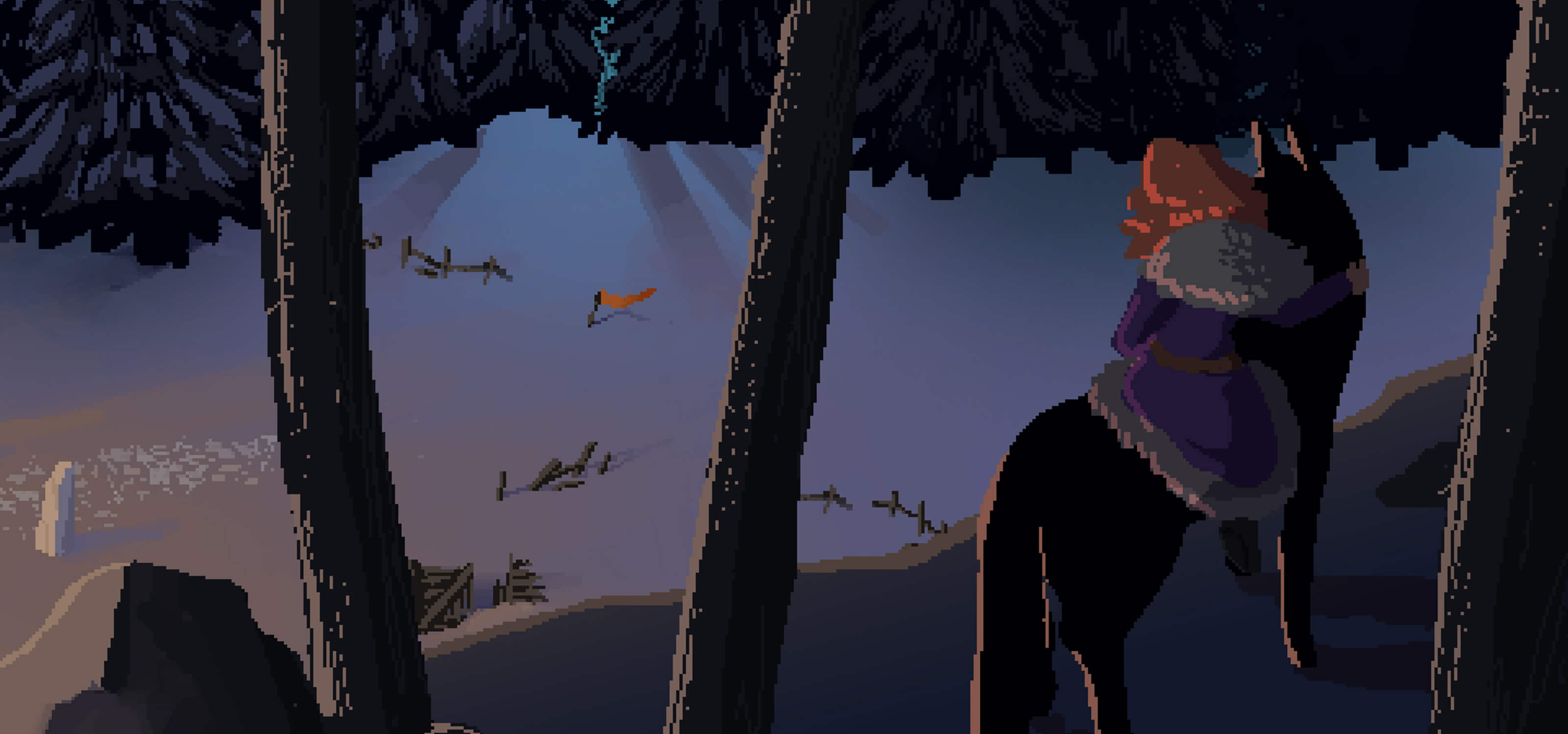 A screenshot from DigiPen student game The Blade in the Bark showing a girl on a wolf's back in the woods.