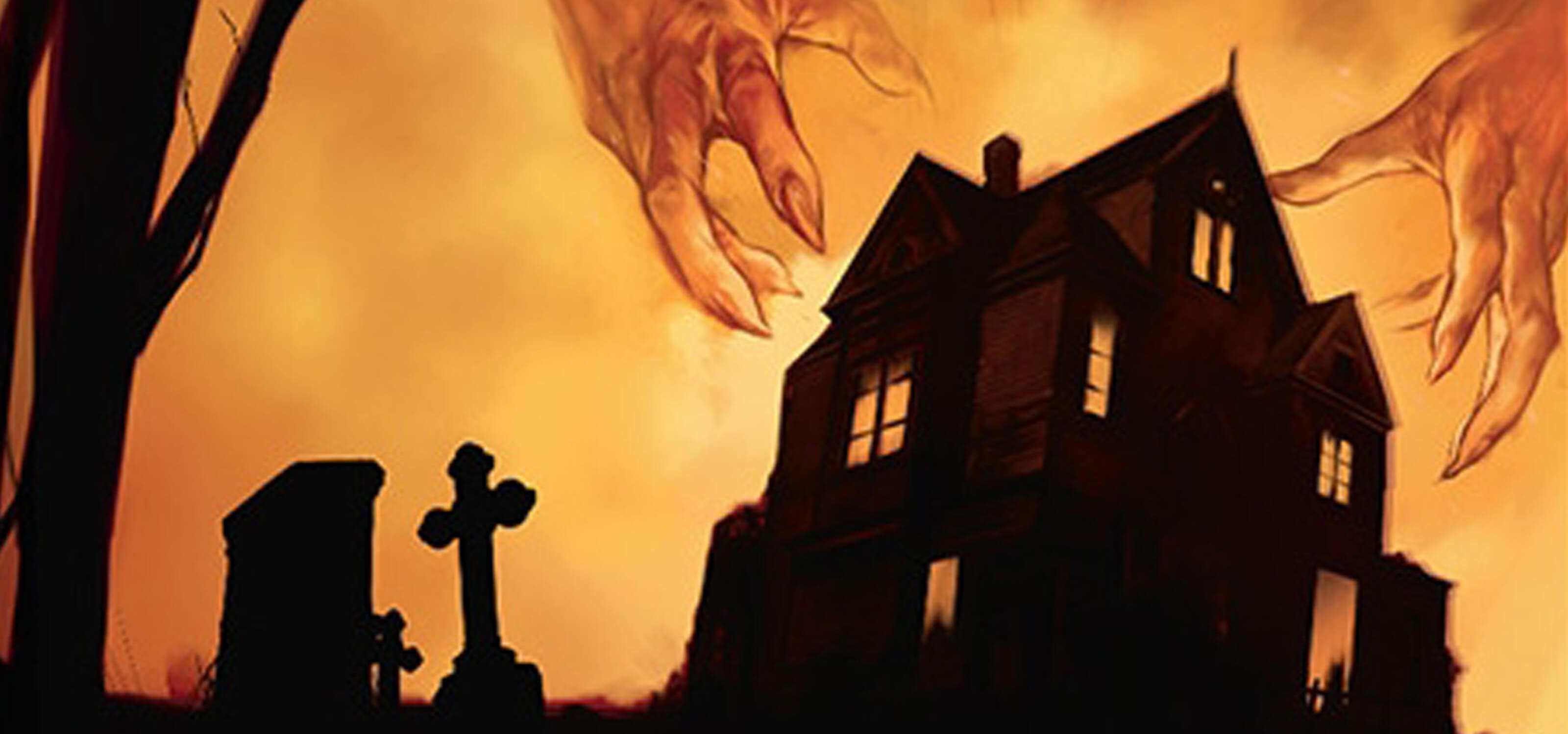 Illustration of a spooky house and giant claw-like hands featured on the box of Betrayal at House on the Hill