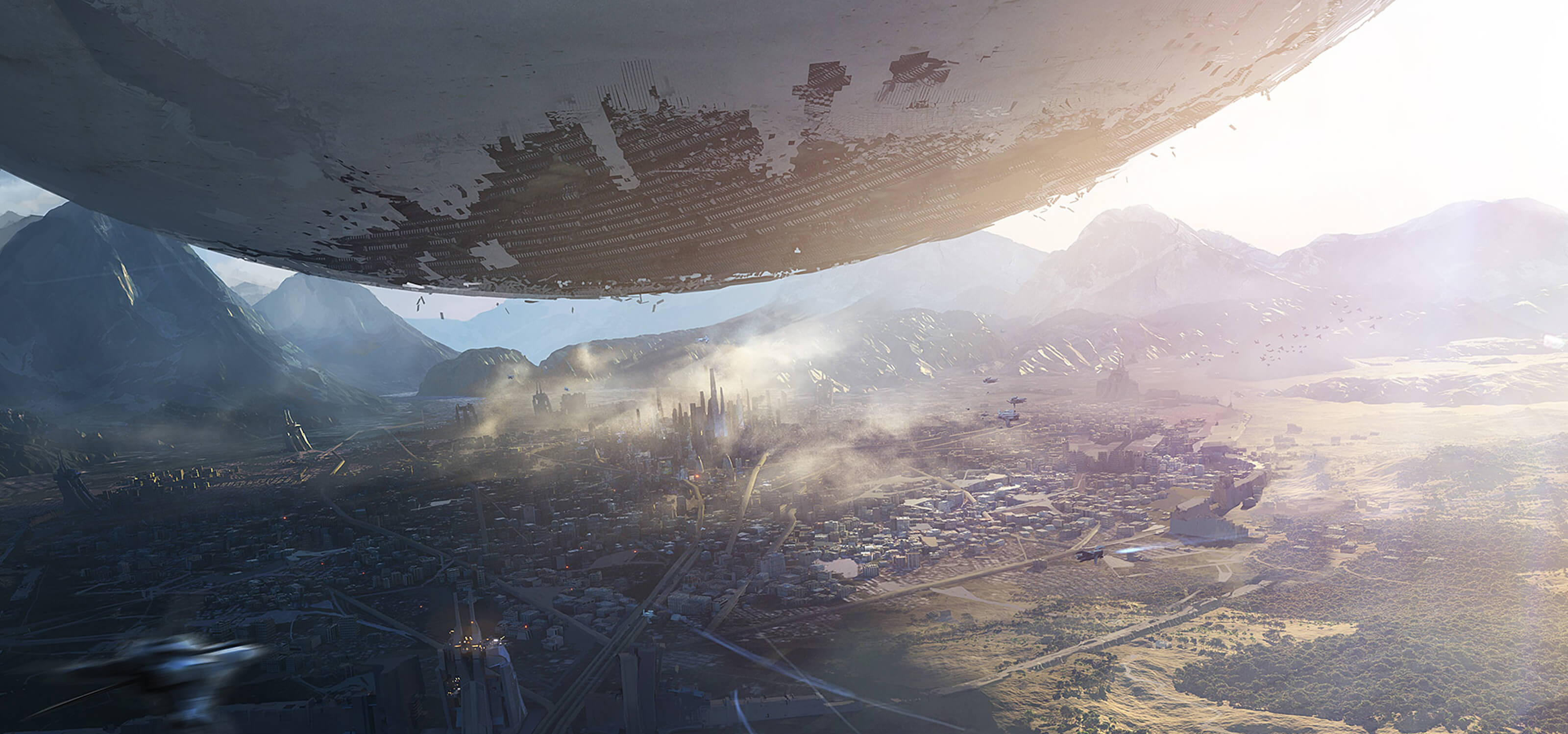 Screenshot from Destiny of an alien spaceship, called the Traveler, hovering over the last city