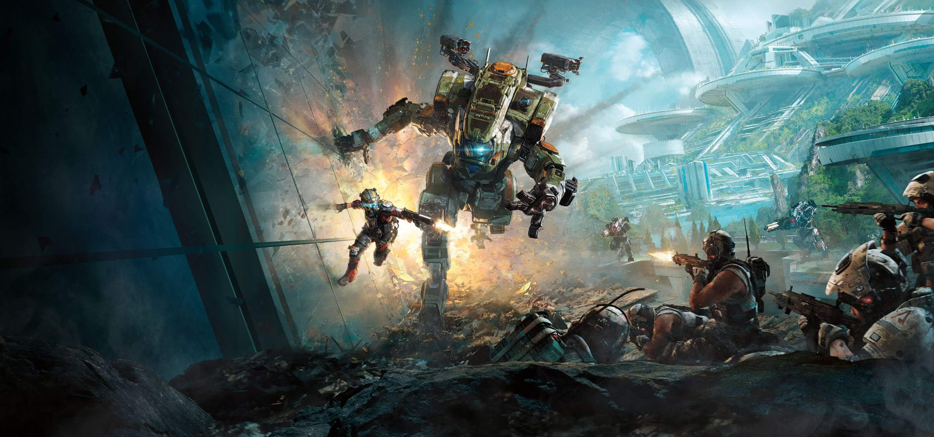 Screenshot from Titanfall 2 of a Titan, a huge robot-like exoskeleton containing a pilot, chasing a man in a futuristic city