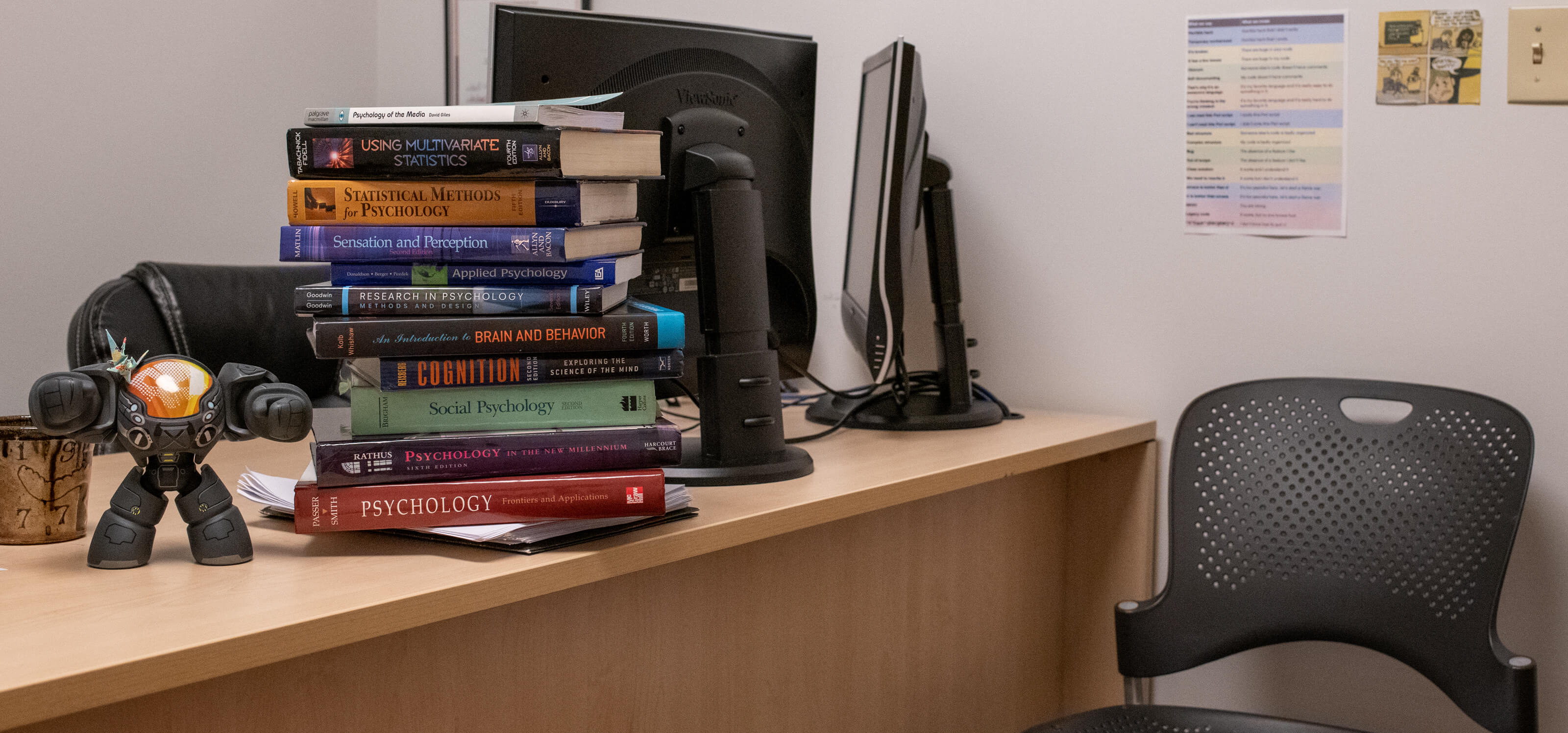 A stack of psychology textbooks sits atop a desk.