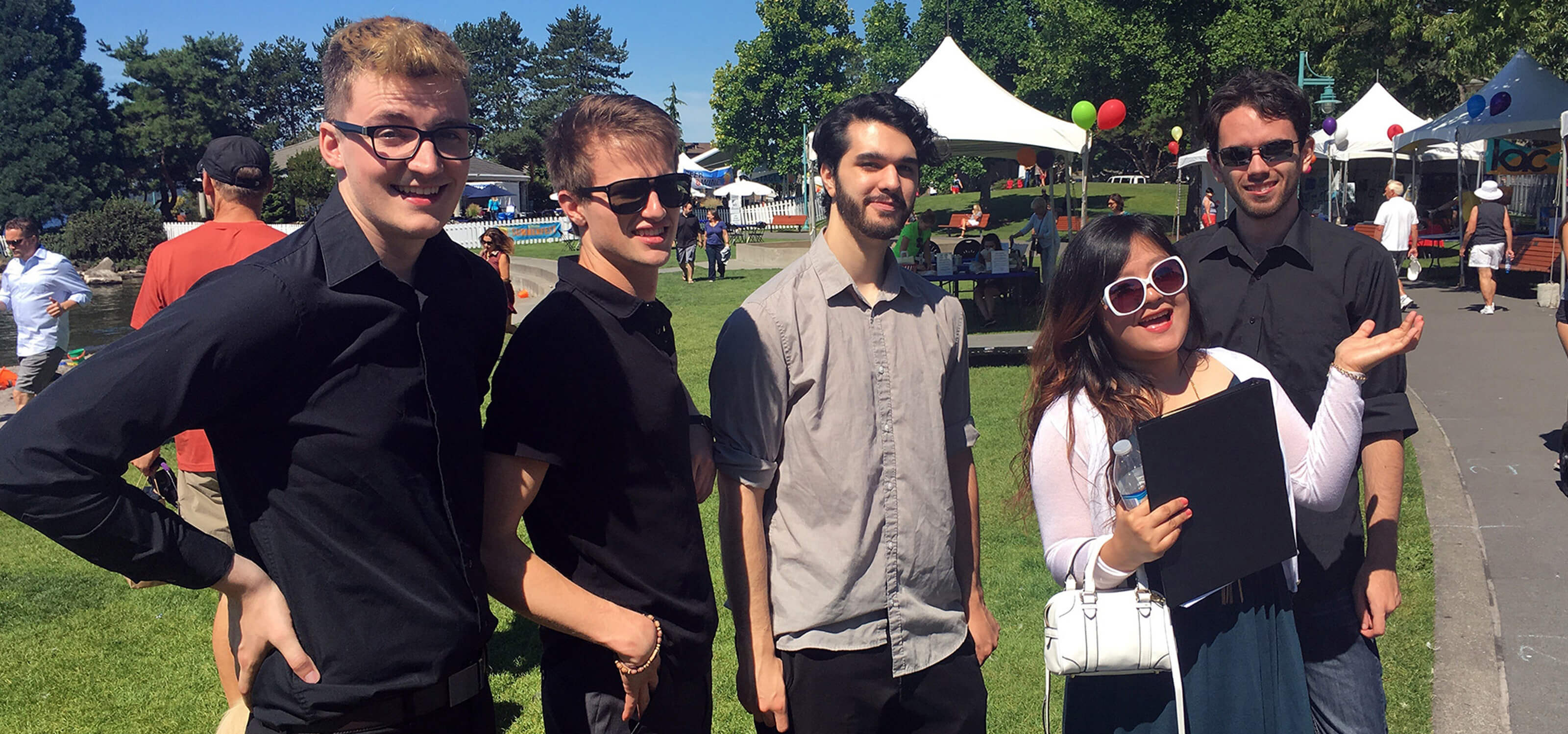 Members of the DigiPen Jazz Ensemble at Kirkland Summerfest on a beautiful sunny day