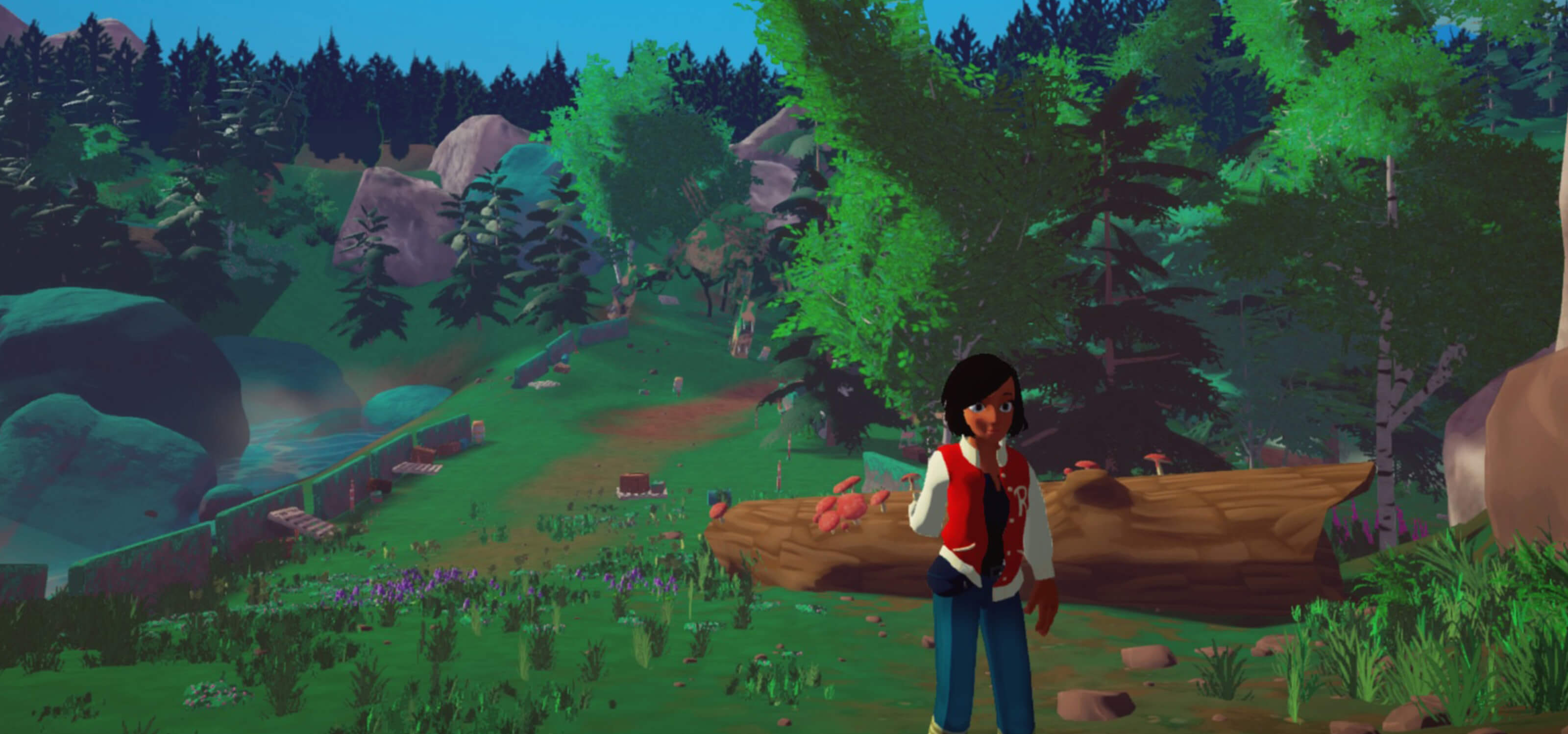 Elegy's main character, Robin, standing on a hill in the forest
